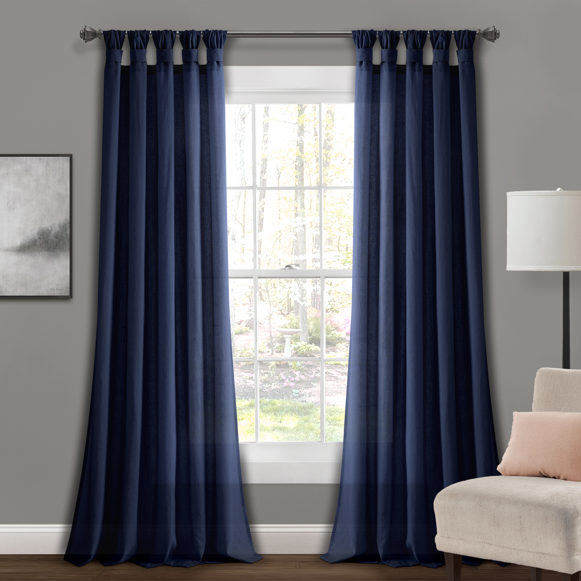 Details About Burlap Knotted Tab Top Window Curtain Panels Dark Linen Pair 45x84 Set With Regard To Knotted Tab Top Window Curtain Panel Pairs (View 5 of 20)
