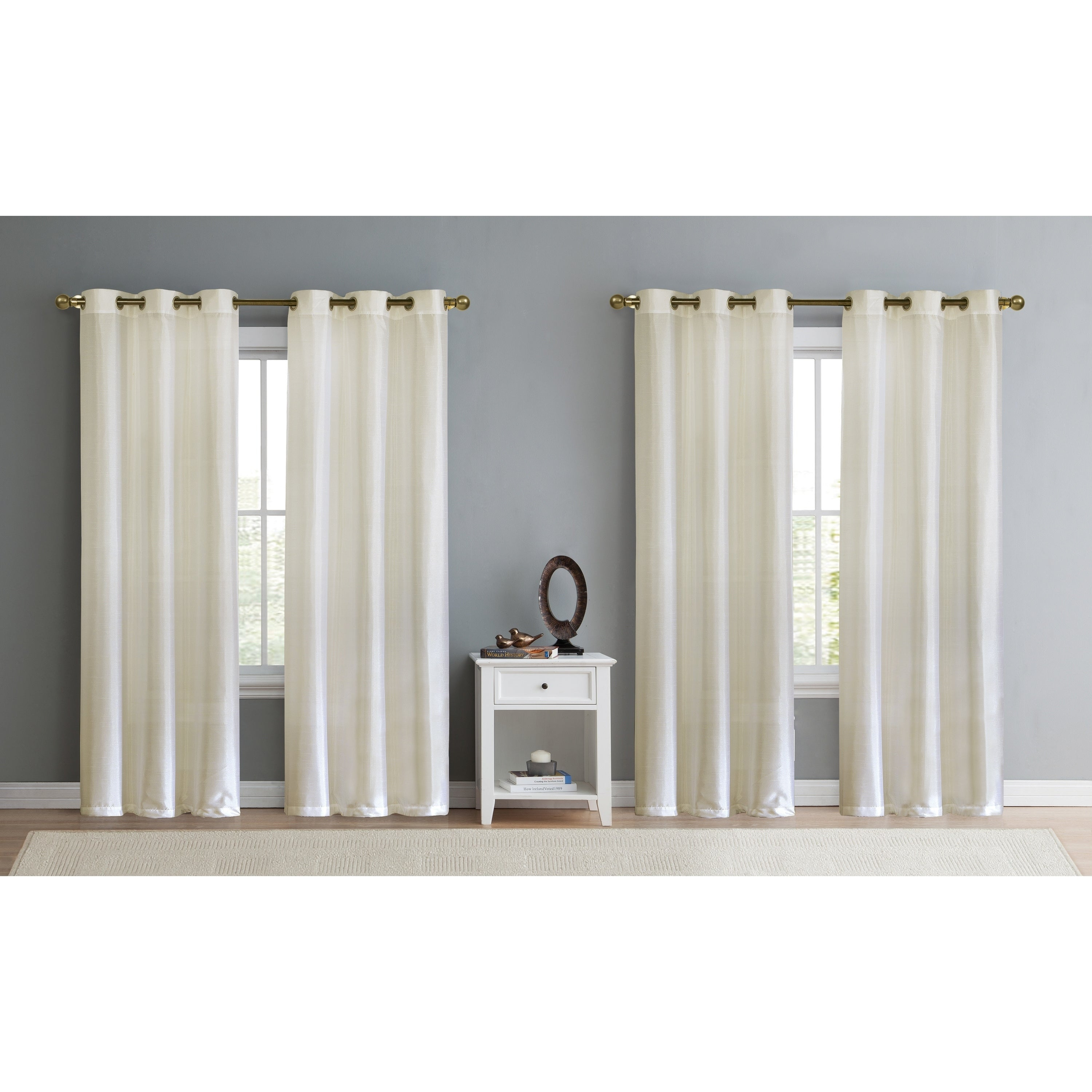 Details About Copper Grove Chausy Faux Silk Grommet Panel (set Of 4) Throughout Copper Grove Fulgence Faux Silk Grommet Top Panel Curtains (View 16 of 20)