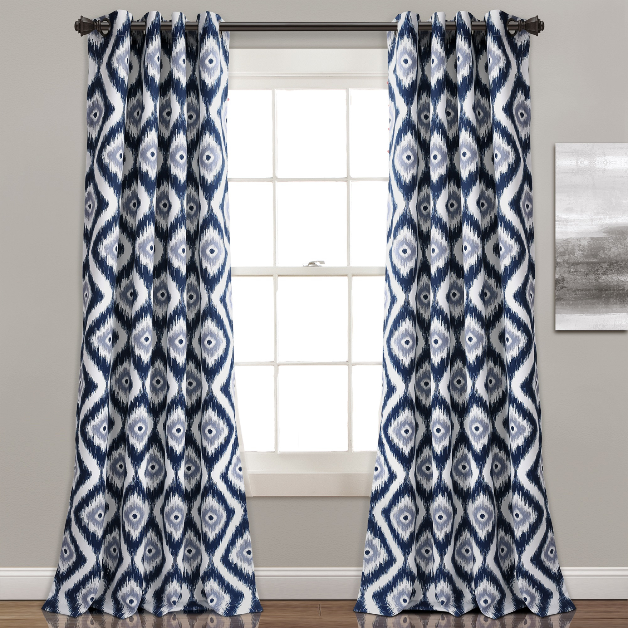 Details About Diamond Ikat Room Darkening Window Curtain Panel Pair, Navy In Room Darkening Window Curtain Panel Pairs (View 8 of 20)