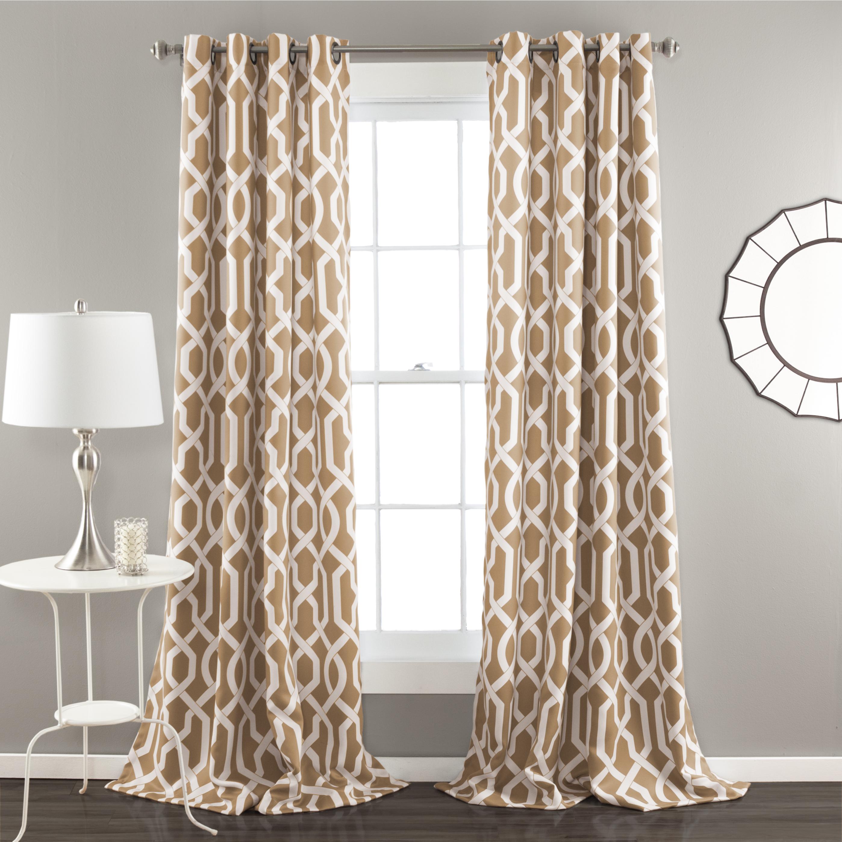Details About Edward Trellis Room Darkening Window Curtain Taupe Set 52x84 Throughout Kaiden Geometric Room Darkening Window Curtains (View 13 of 20)