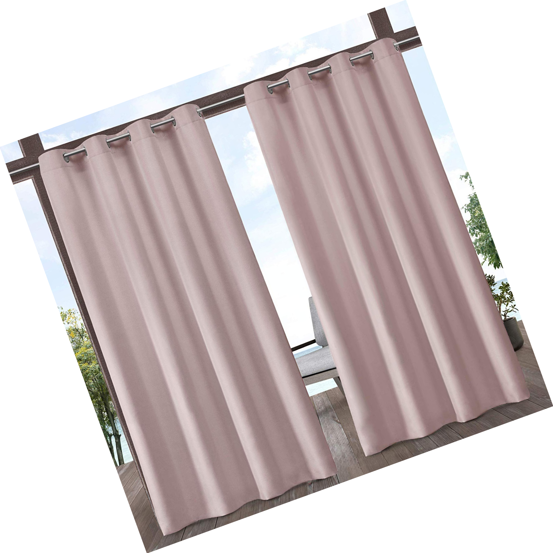Featured Photo of Indoor/outdoor Solid Cabana Grommet Top Curtain Panel Pairs