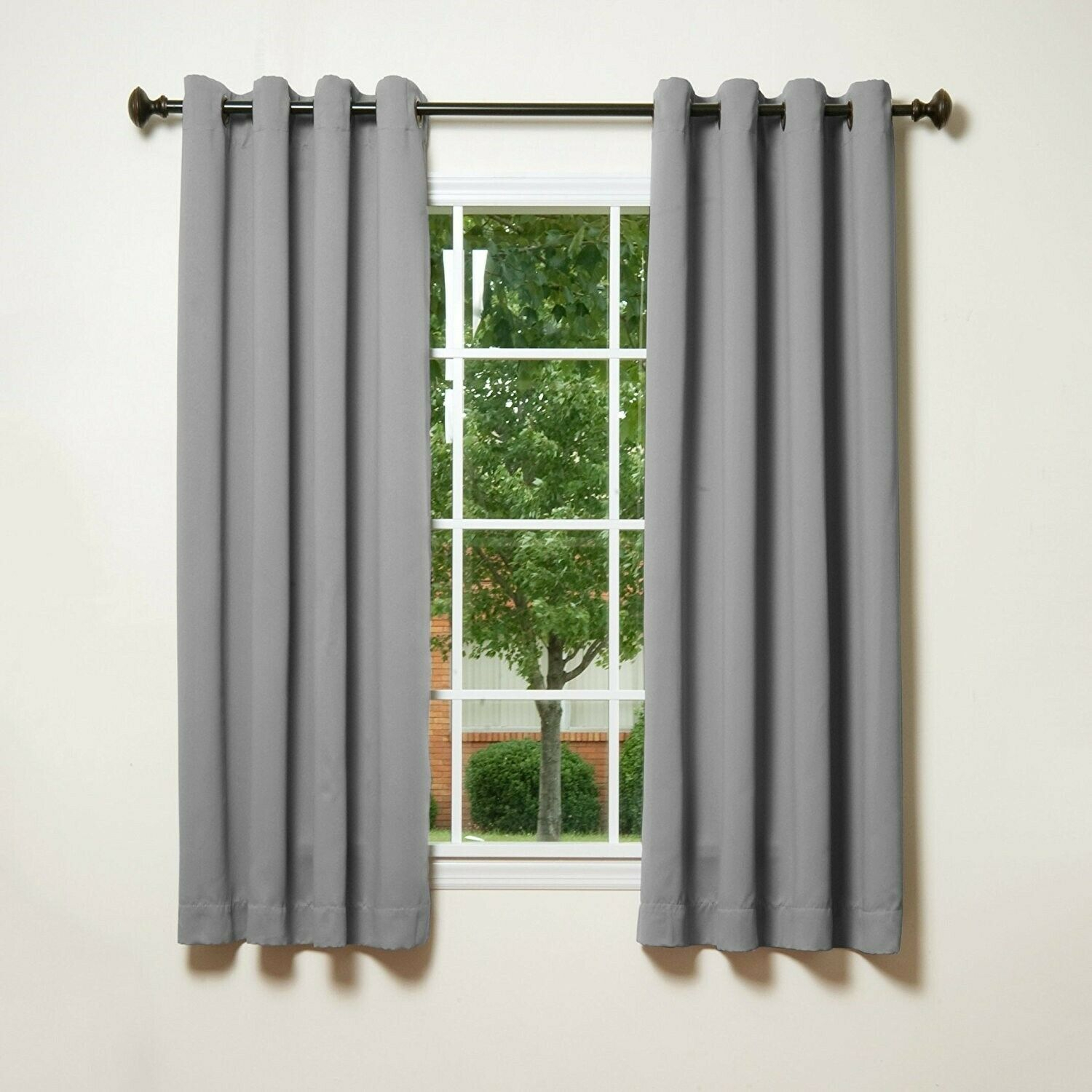 """Details About Grey Grommet Top Thermal Insulated Blackout Curtain 52"""" X 63"""" 1 Pair 123200 Regarding Superior Leaves Insulated Thermal Blackout Grommet Curtain Panel Pairs (View 15 of 30)"""