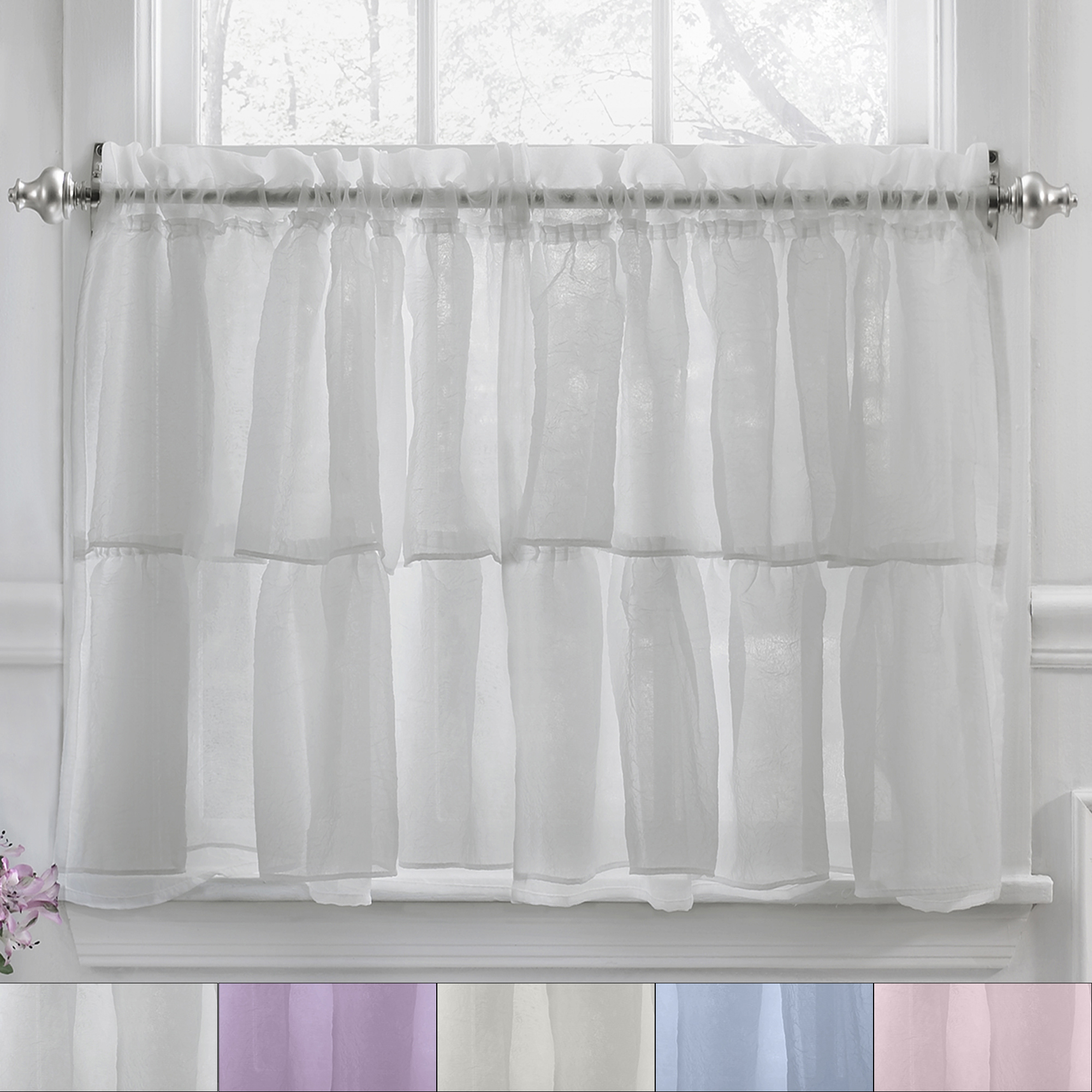 "Details About Gypsy Crushed Voile Ruffle Kitchen Window Curtain 36"" Tier Pair For Sheer Voile Ruffled Tier Window Curtain Panels (View 9 of 20)"