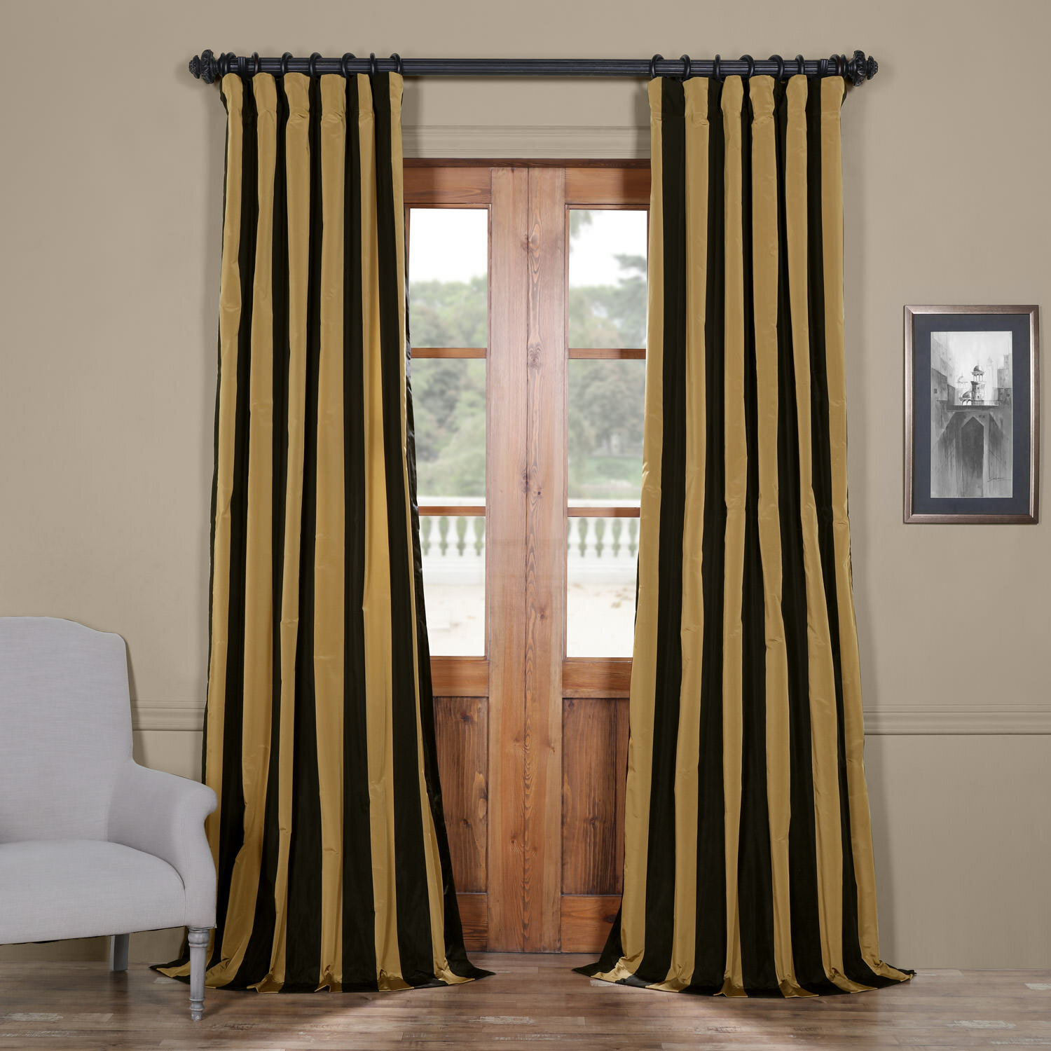 Details About Half Price Drapes Regency Stripe Faux Silk Taffeta Single Curtain Panel With Solid Faux Silk Taffeta Graphite Single Curtain Panels (View 7 of 30)