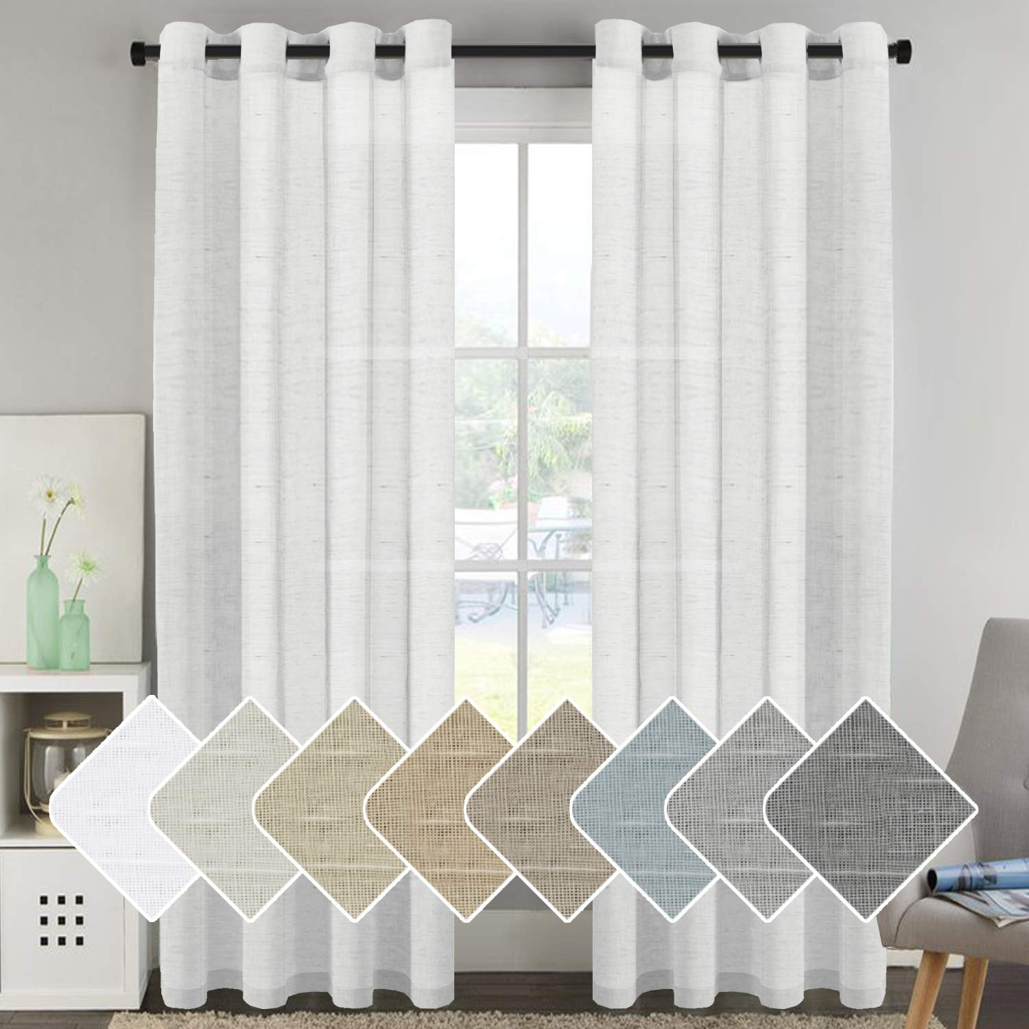 Details About Home Living Room 52 X 96 Premium Luxury Window Sheer Curtain Set, White Intended For Elegant Comfort Window Sheer Curtain Panel Pairs (View 12 of 20)