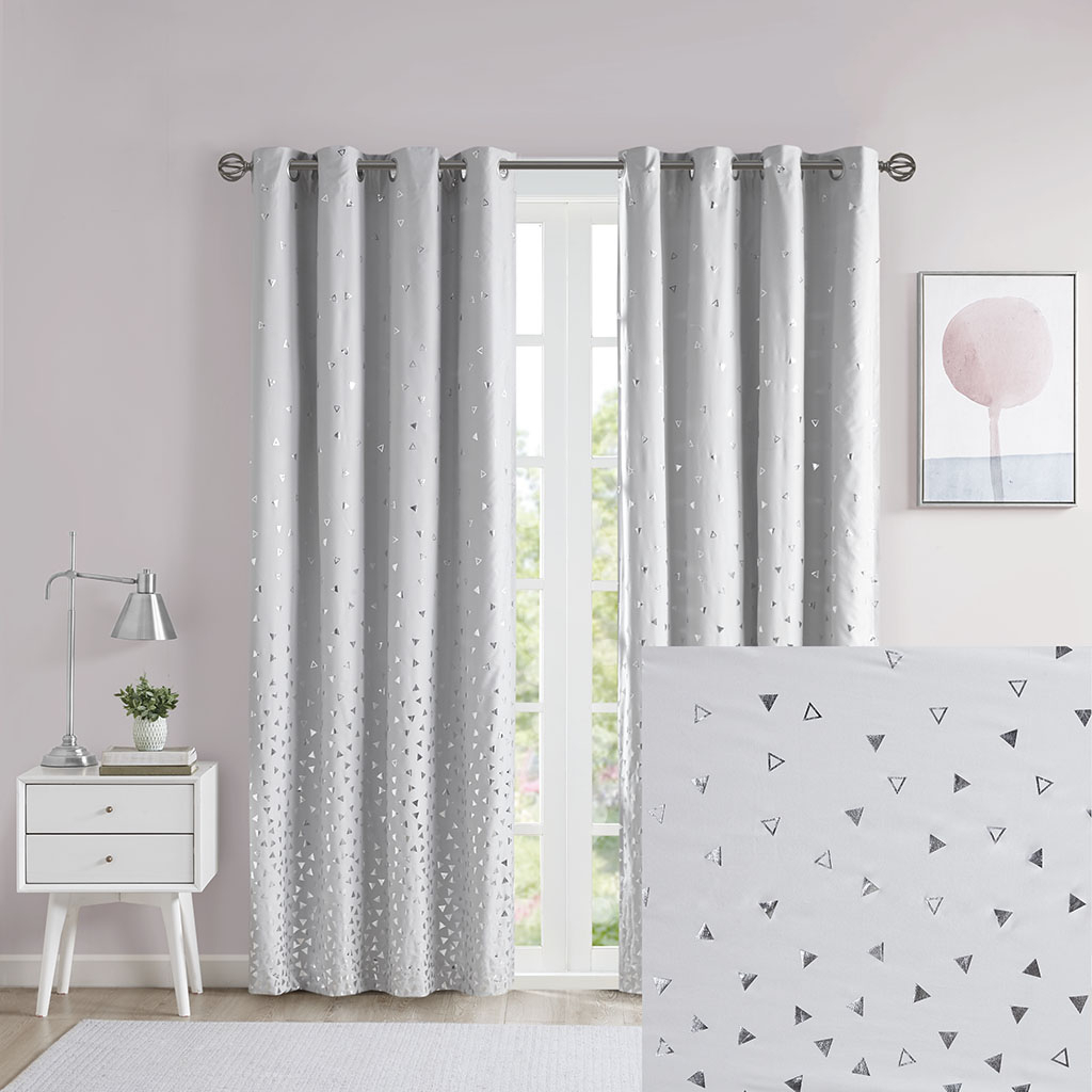 Details About Intelligent Design Zoey Total Blackout Printed Metallic Window Panel With Total Blackout Metallic Print Grommet Top Curtain Panels (View 10 of 36)
