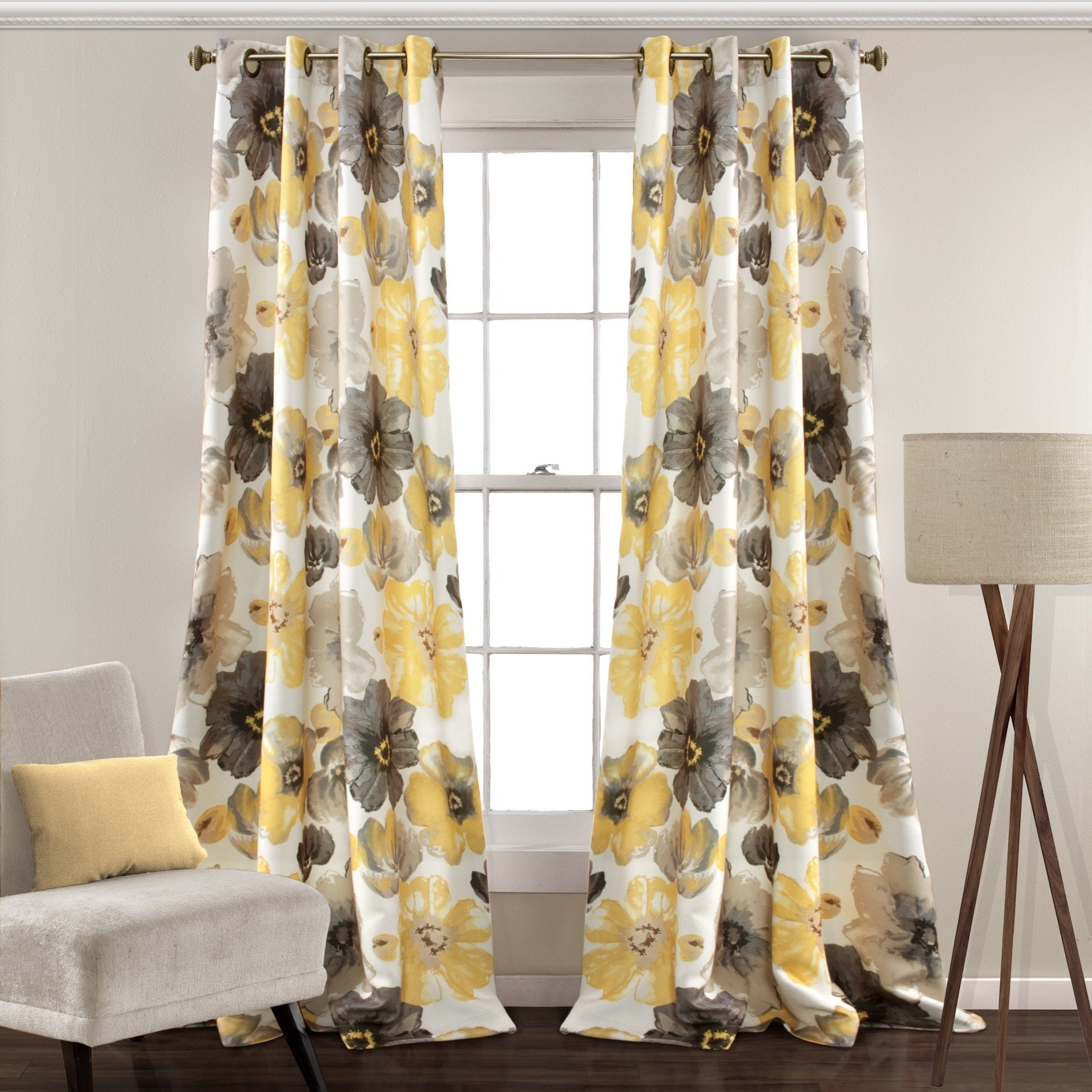 Details About Lush Decor Leah Room Darkening Curtain Panel Pair In Weeping Flowers Room Darkening Curtain Panel Pairs (View 9 of 30)