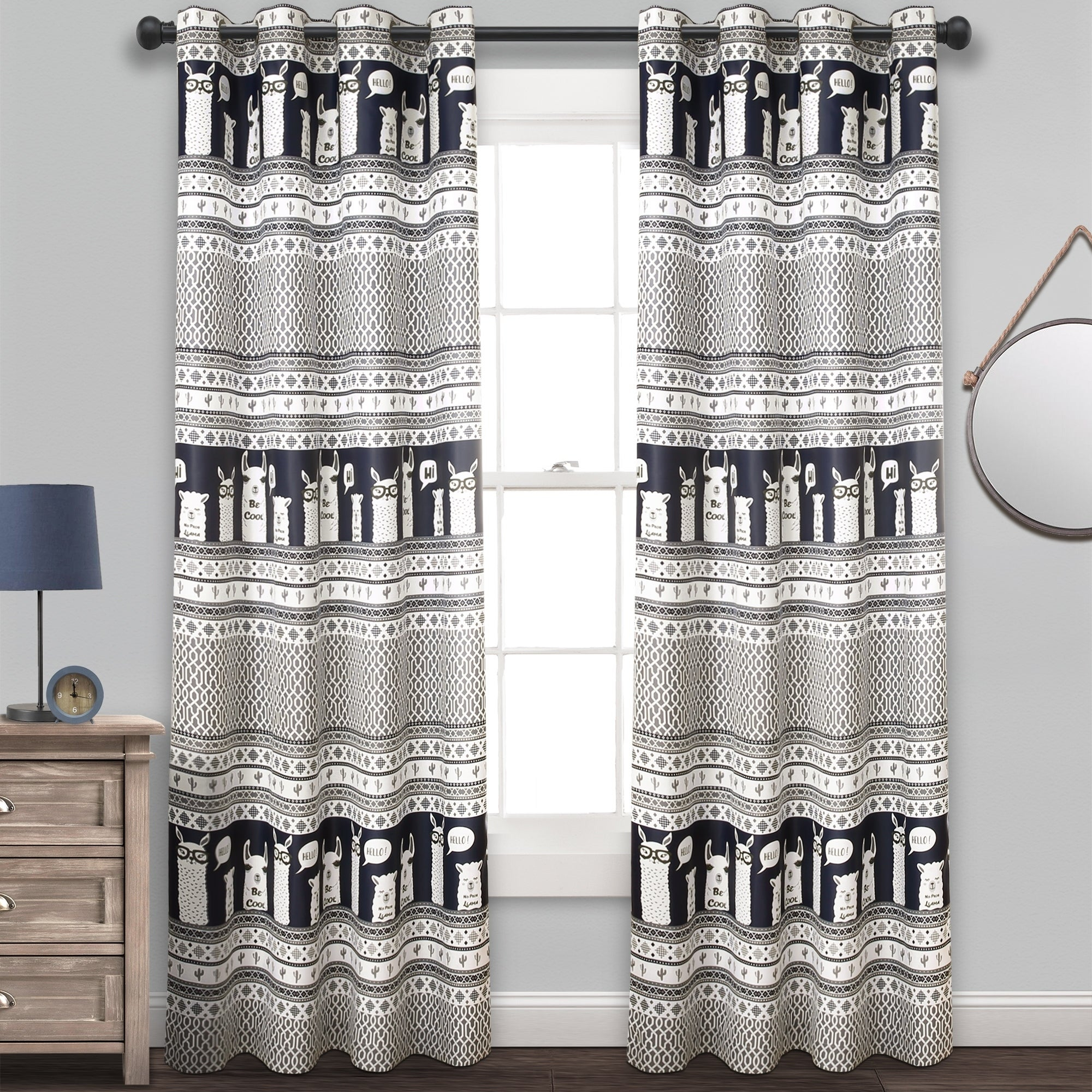 Details About Lush Decor Llama Stripe Room Darkening Window Curtain Panel Inside Julia Striped Room Darkening Window Curtain Panel Pairs (View 5 of 20)