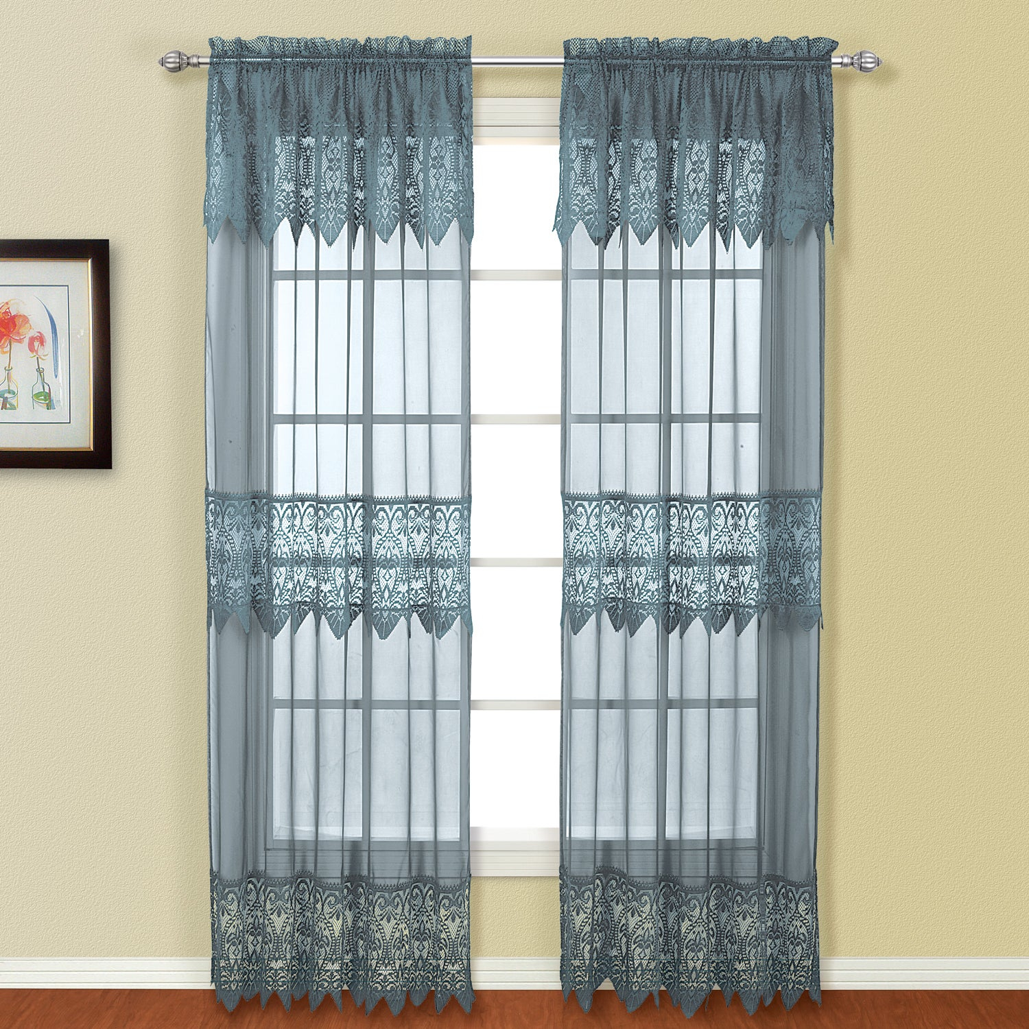 Details About Luxury Collection Valerie Semi-Sheer Curtain Panel Pair pertaining to Luxury Collection Venetian Sheer Curtain Panel Pairs (Image 6 of 20)