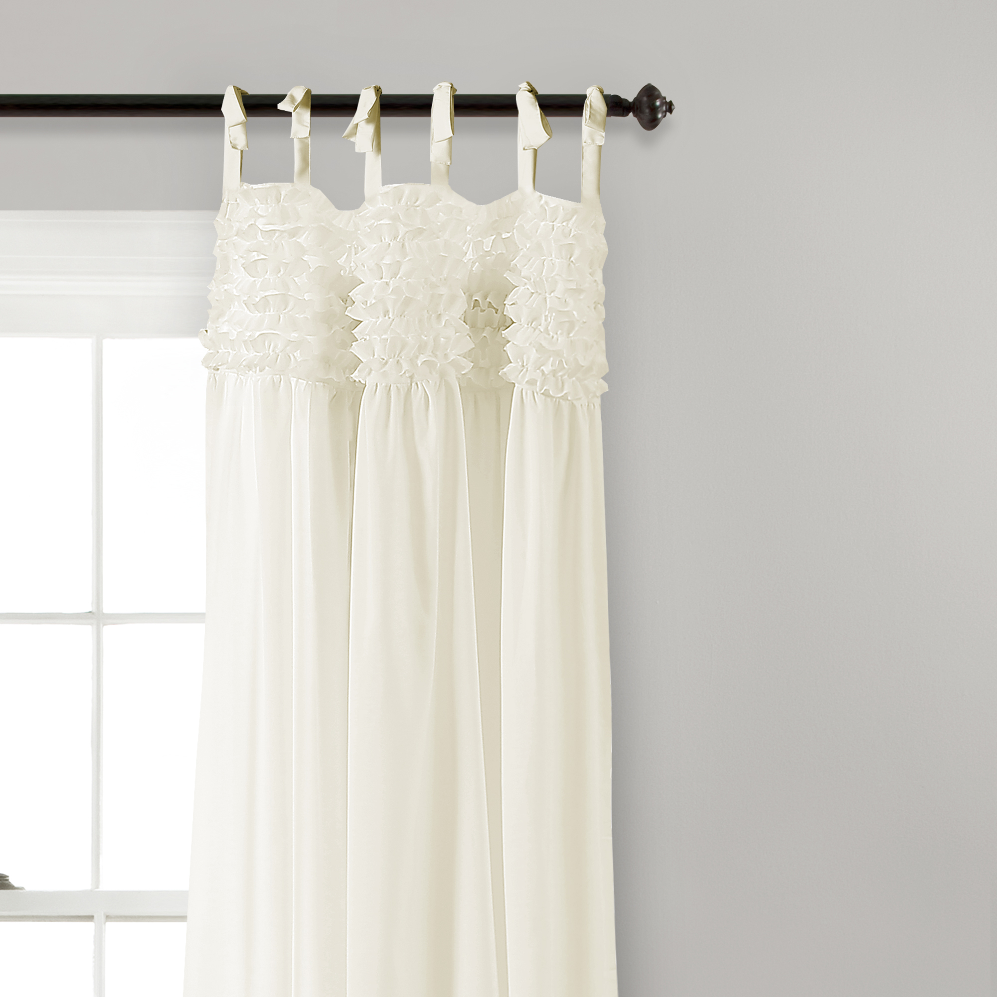 Details About Lydia Ruffle Window Curtain Panels Ivory Set 40x84 Pertaining To Lydia Ruffle Window Curtain Panel Pairs (View 3 of 20)