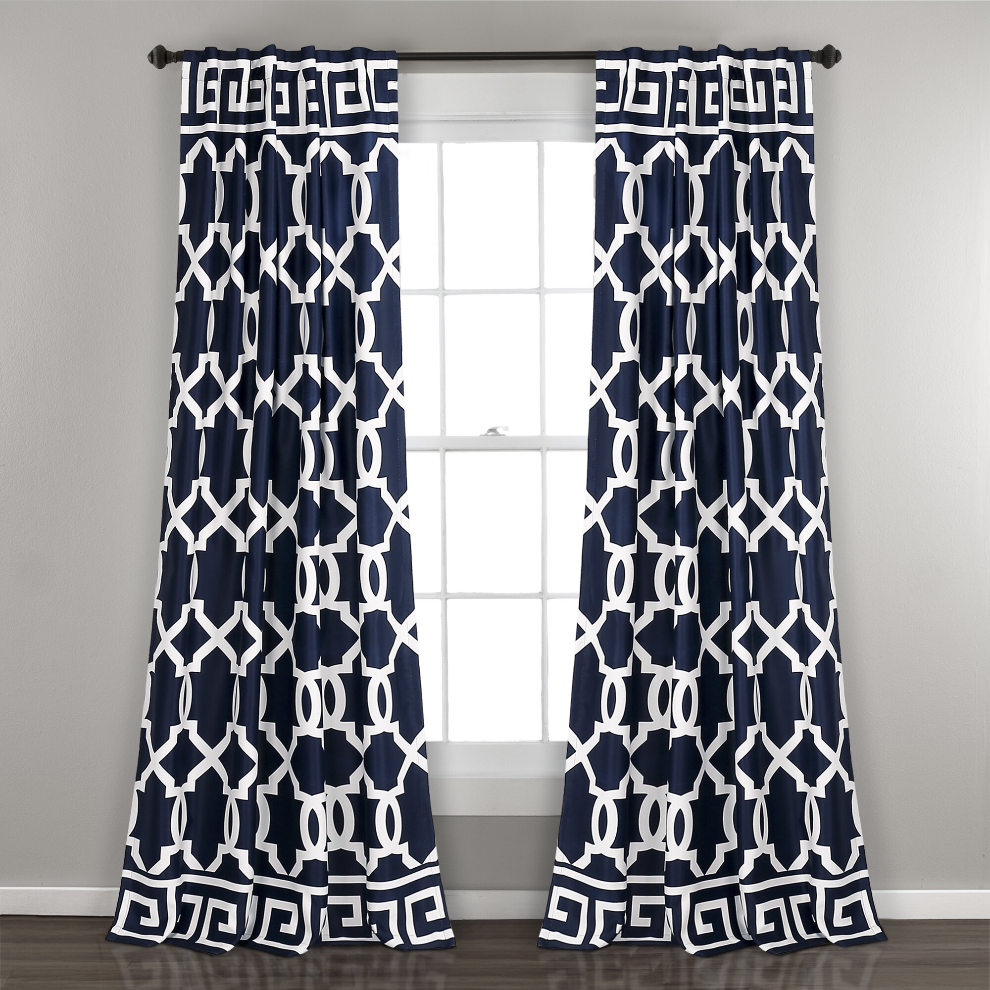 Details About Mercer41 Schum Geometric Room Darkening Indoor/outdoor Rod Pocket Panel Pair With Nantahala Rod Pocket Room Darkening Patio Door Single Curtain Panels (View 20 of 20)
