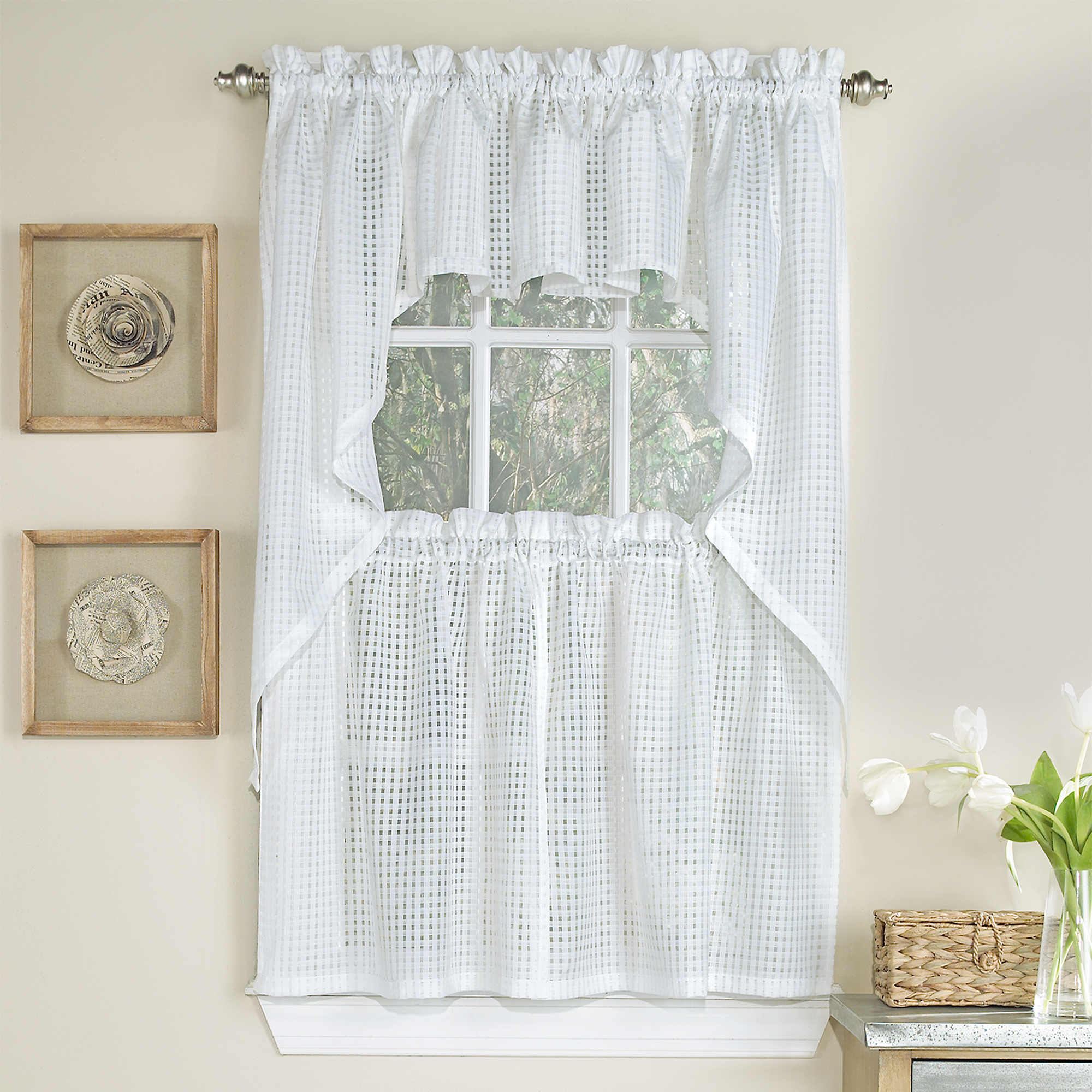 Details About Micro Check 2 Tone White Semi Sheer Window Curtain Tiers, Valance, Or Swag With Gray Barn Dogwood Floral Curtain Panel Pairs (View 13 of 20)