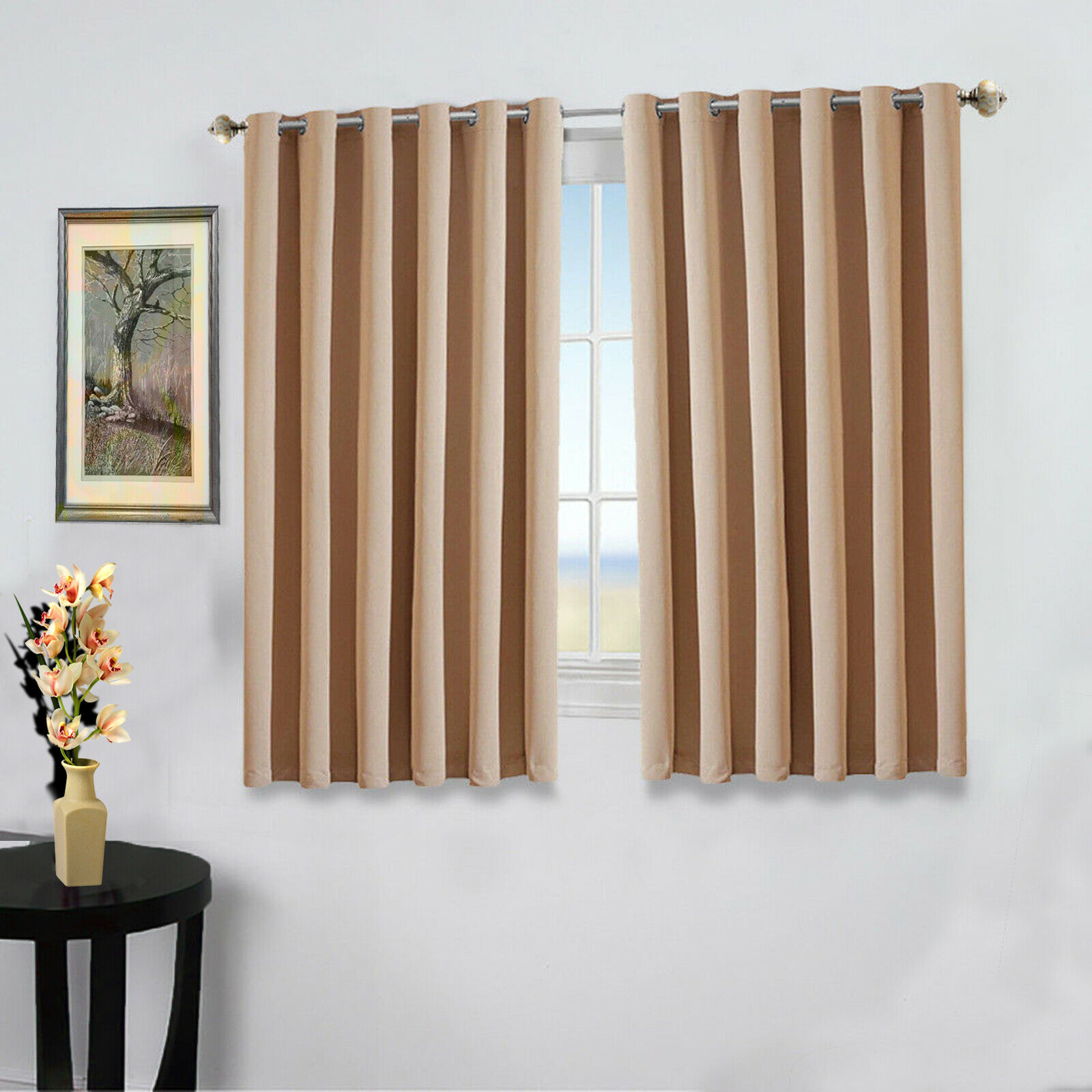 Details About New Pair Of Eyelet Thermal Insulated Blackout Curtains For Short Windows Kitchen For Thermal Insulated Blackout Curtain Pairs (View 14 of 30)
