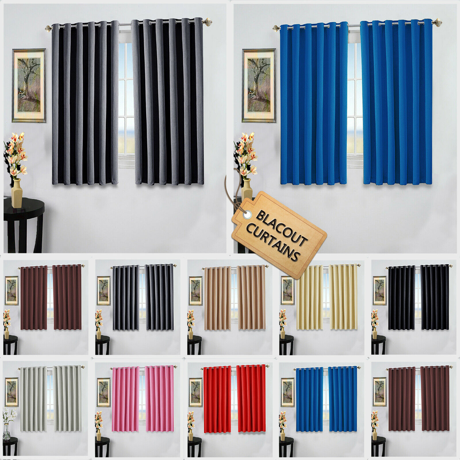 Details About New Pair Of Eyelet Thermal Insulated Blackout Curtains For Short Windows Kitchen In Thermal Insulated Blackout Curtain Pairs (View 7 of 30)