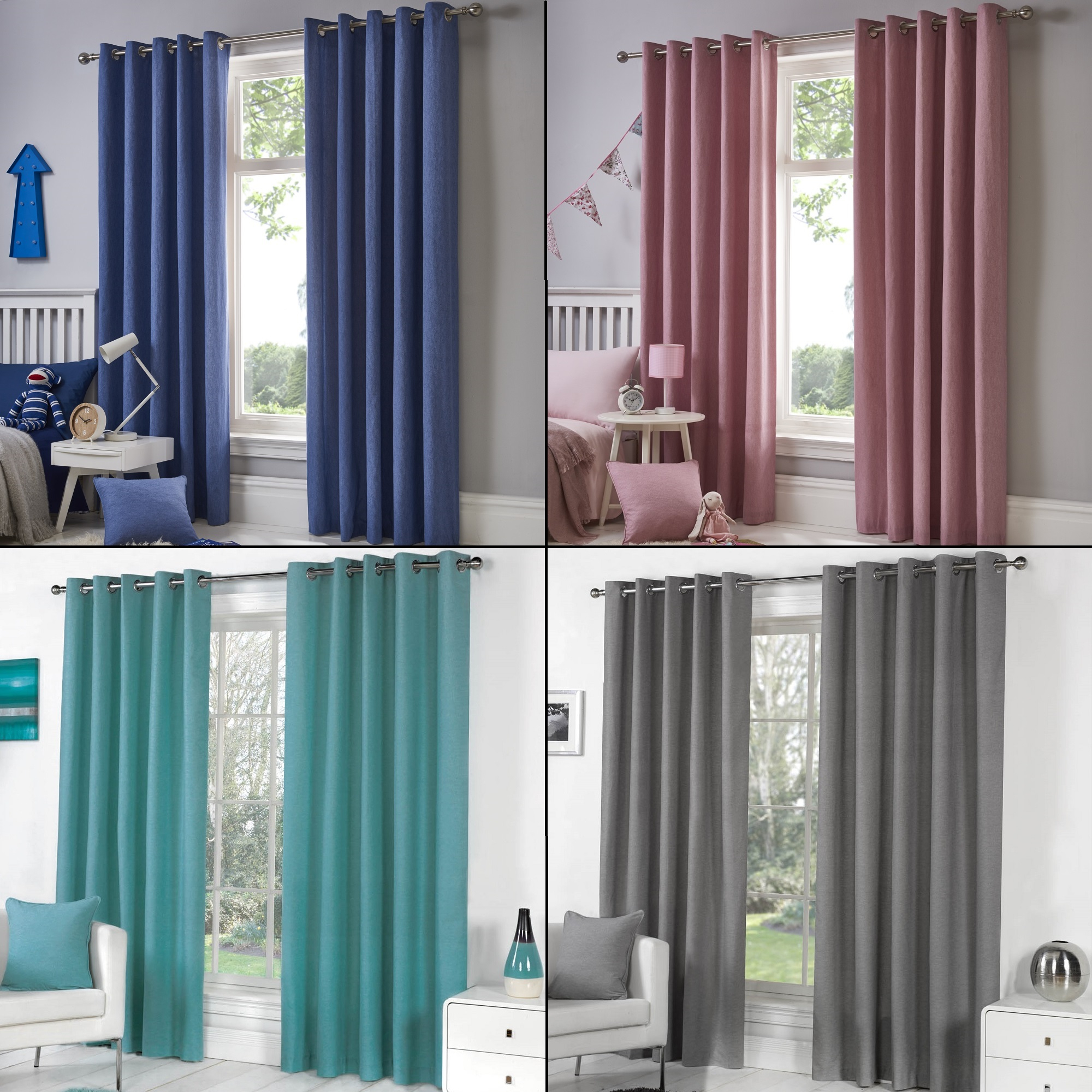 Details About Pair Of Sorbonne Solid Lined Curtain Panels – Grommet Top – Gray Red Blue Pink Within Solid Grommet Top Curtain Panel Pairs (View 8 of 30)