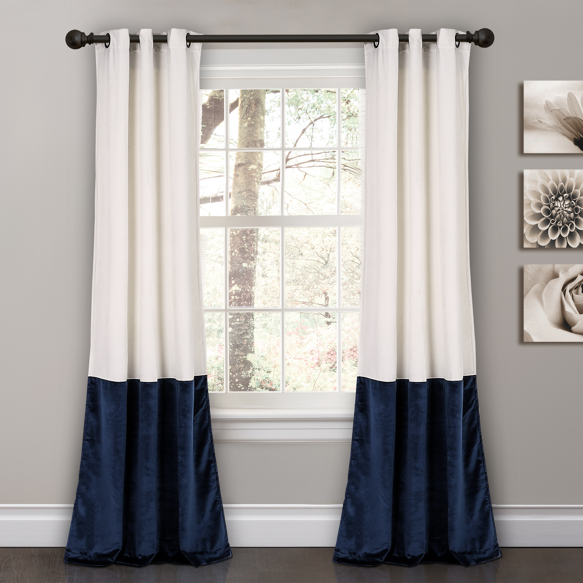 """Details About Prima Velvet Color Block Room Darkening Window Curtain Panel Pair, 84"""" X 38"""" Within Weeping Flowers Room Darkening Curtain Panel Pairs (View 15 of 30)"""