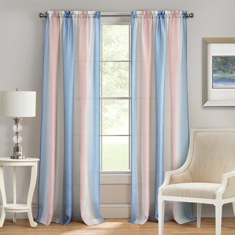 Details About Rose/blue Luxurious Tight-Woven Elegant Sheer Rod Pocket  Curtain Panels with Luxury Collection Venetian Sheer Curtain Panel Pairs (Image 7 of 20)