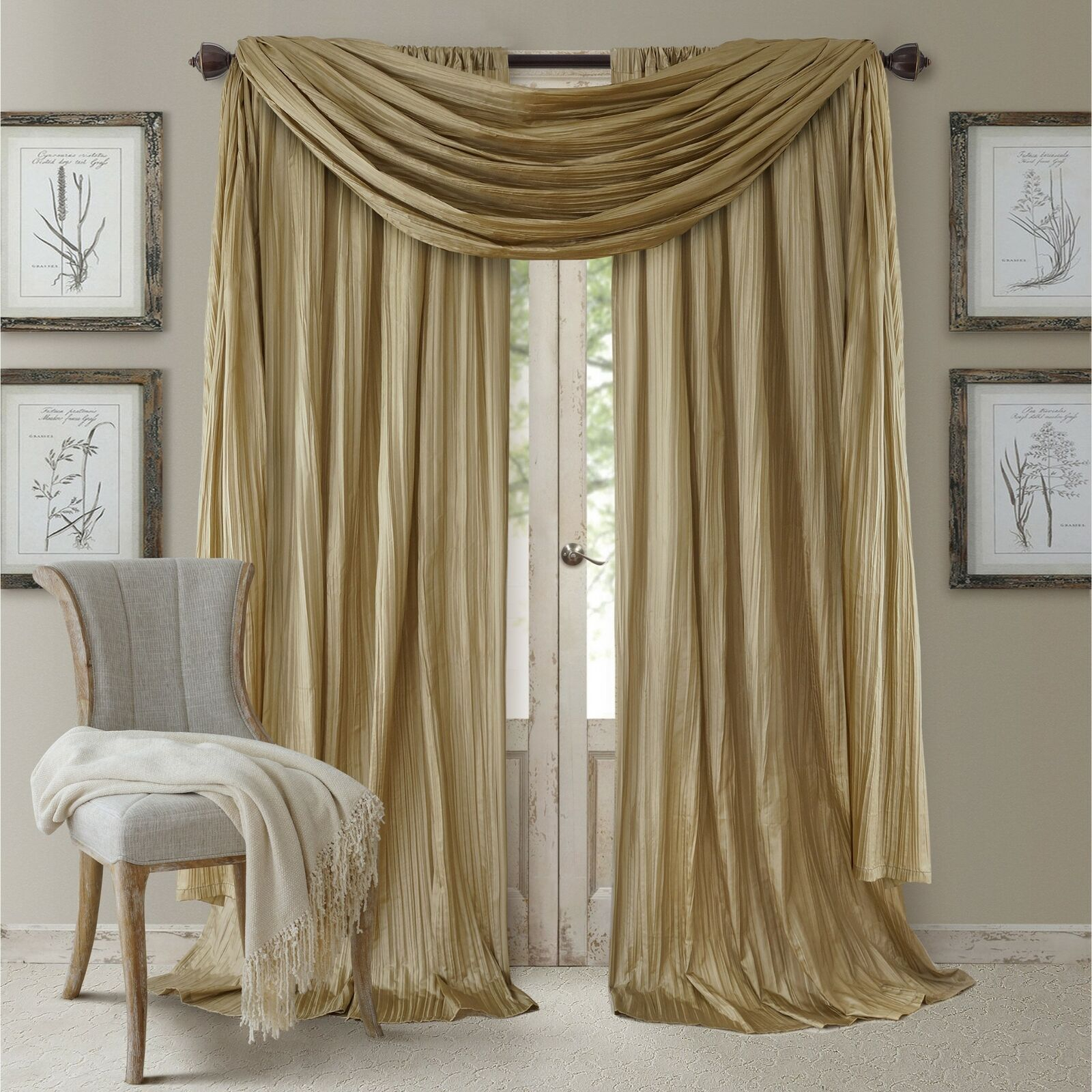Details About Set 2 Solid Gold Faux Silk Curtains Panels Drapes Pair Elegant W/ Scarf 108 In (View 14 of 20)