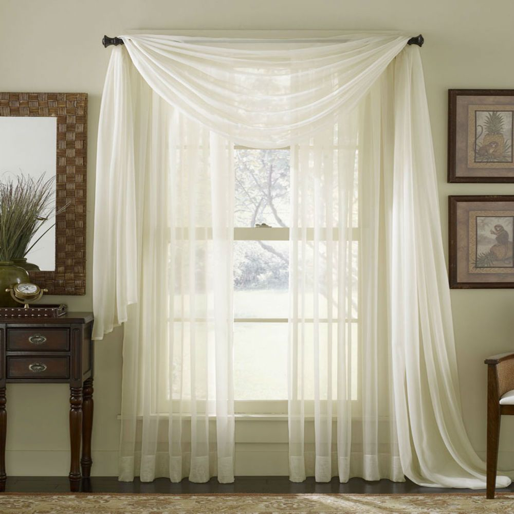 Details About Sheer Plain Voile Scarf Curtain Panel Sets Net With Extra Wide White Voile Sheer Curtain Panels (View 14 of 20)