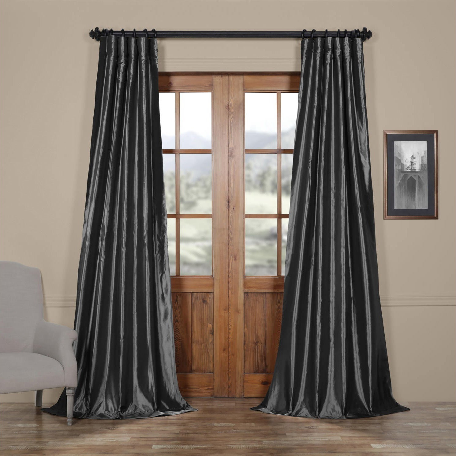 Details About Single Curtain Panel 50 X 96 In Solid Faux Silk Taffeta Graphite Room Darkening Intended For Faux Silk Taffeta Solid Blackout Single Curtain Panels (View 3 of 20)
