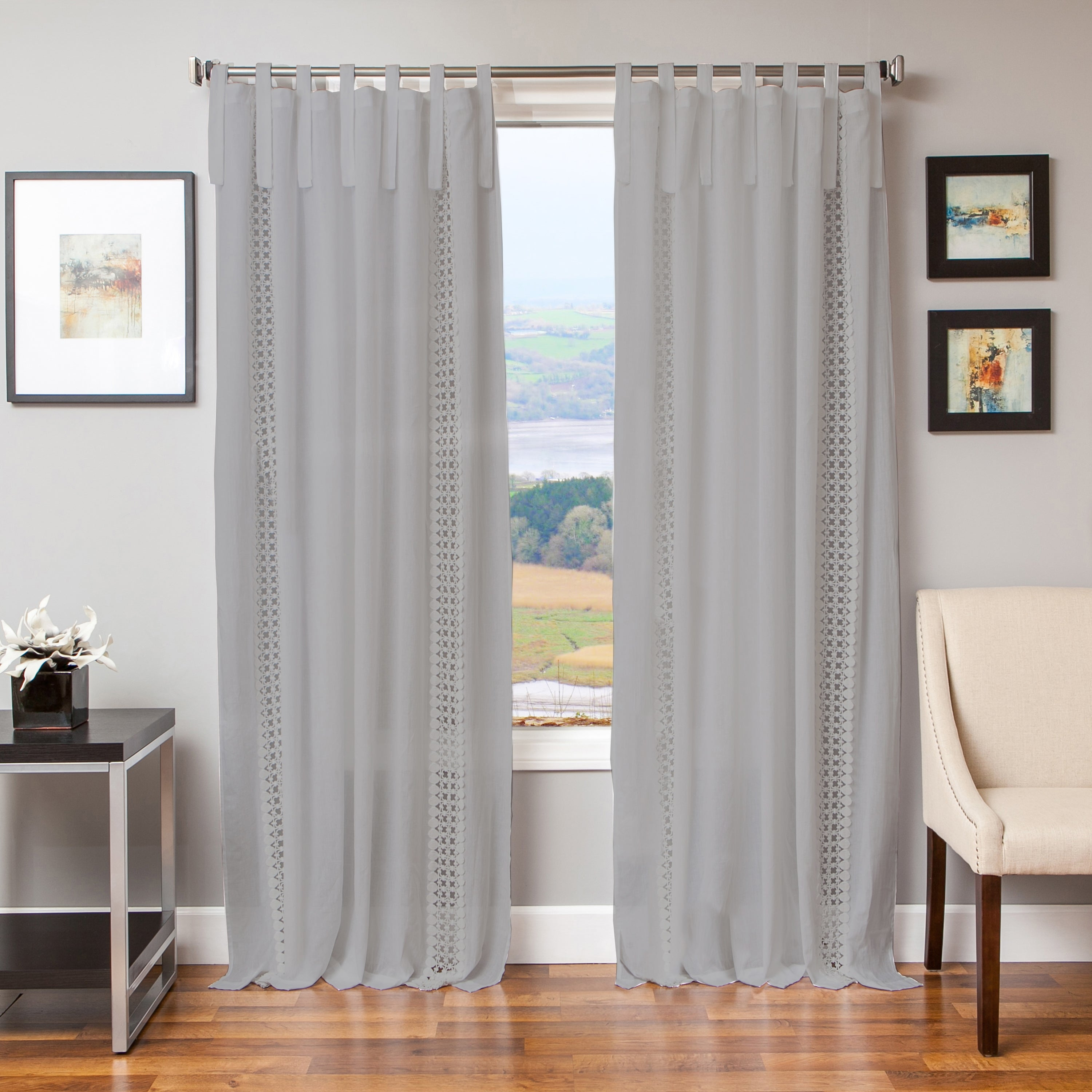 Details About Softline Tie Tab Cotton And Linen Macrame Curtain Panel Pertaining To Archaeo Washed Cotton Twist Tab Single Curtain Panels (View 13 of 20)