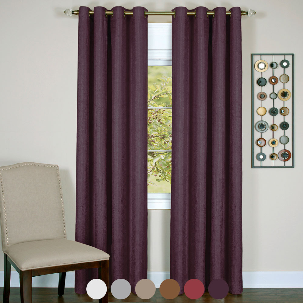 Details About Solid Textured Window Blackout Curtains Lined 8 Grommets  Panel Energy Efficient with regard to Ultimate Blackout Short Length Grommet Panels (Image 10 of 30)