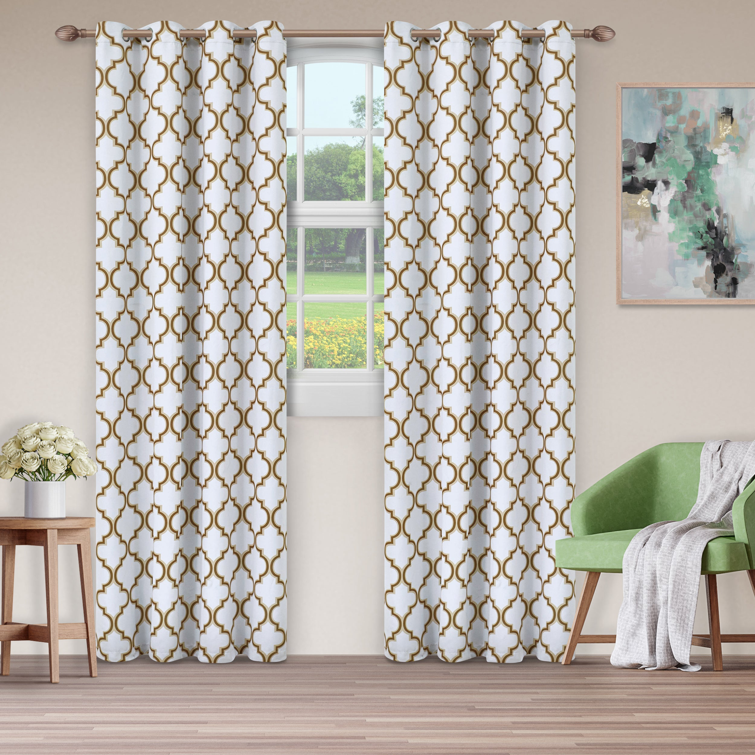 Details About Superior Bohemian Trellis Blackout Grommet Curtain Panel Intended For Superior Solid Insulated Thermal Blackout Grommet Curtain Panel Pairs (View 15 of 30)