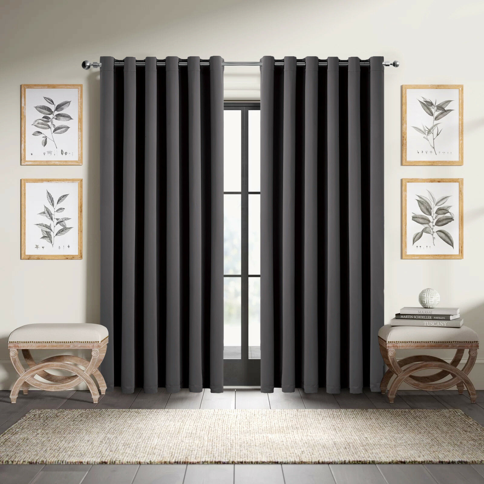 Details About Thermal Blackout Curtains Eyelet Ring Top Ready Made Grey Curtain Free Tie Backs Within Tuscan Thermal Backed Blackout Curtain Panel Pairs (View 7 of 30)