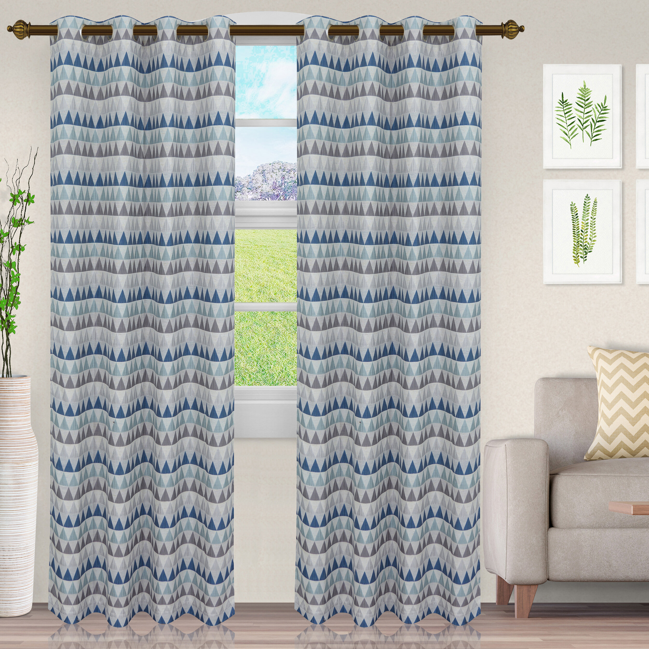 Didi Haus&home Marowyne Geometric Semi-Sheer Grommet Curtain Panels throughout Luxury Collection Venetian Sheer Curtain Panel Pairs (Image 8 of 20)
