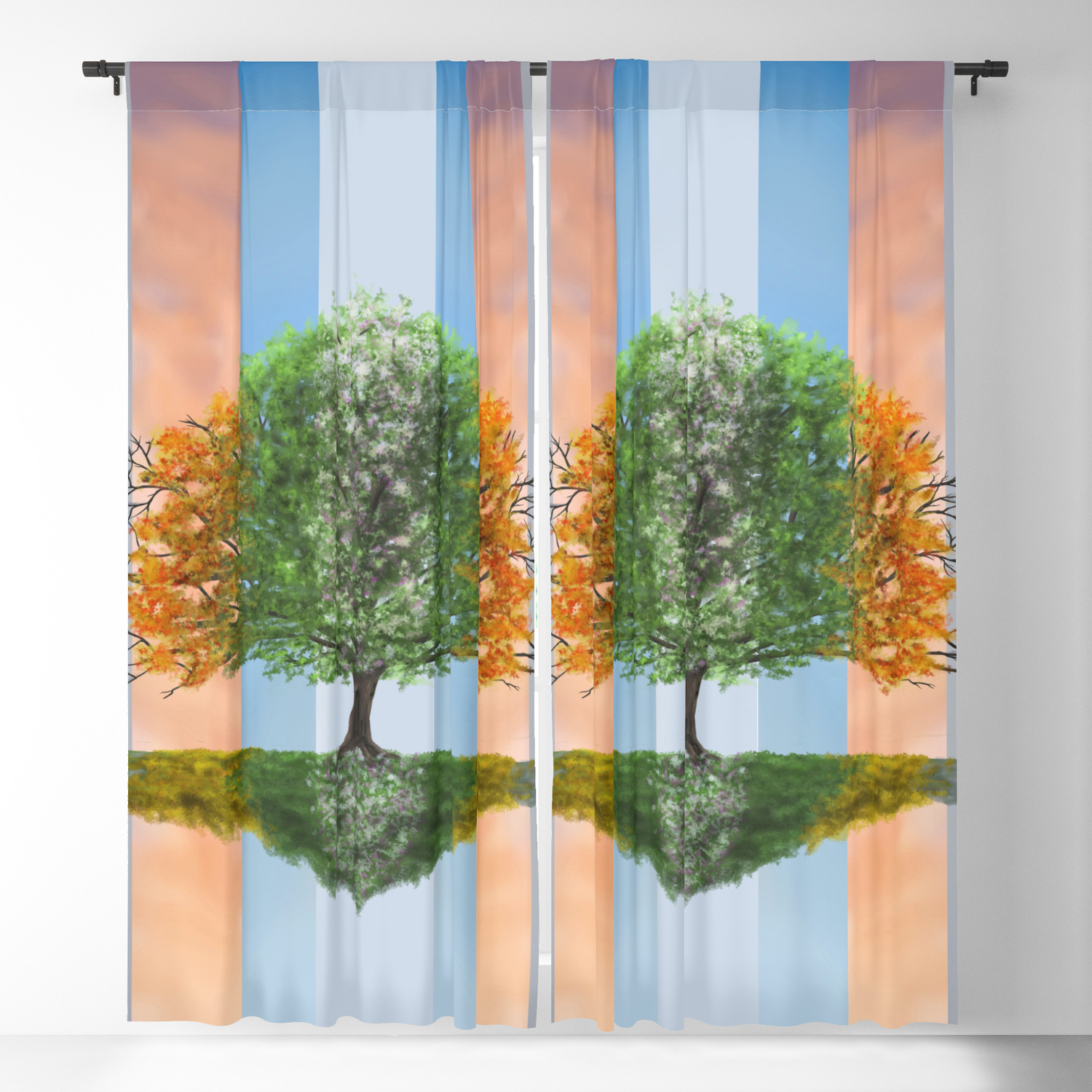 Digital Painting Of The Seasons Of The Year In A Tree Blackout Curtain Signorum Pertaining To All Seasons Blackout Window Curtains (Image 9 of 20)