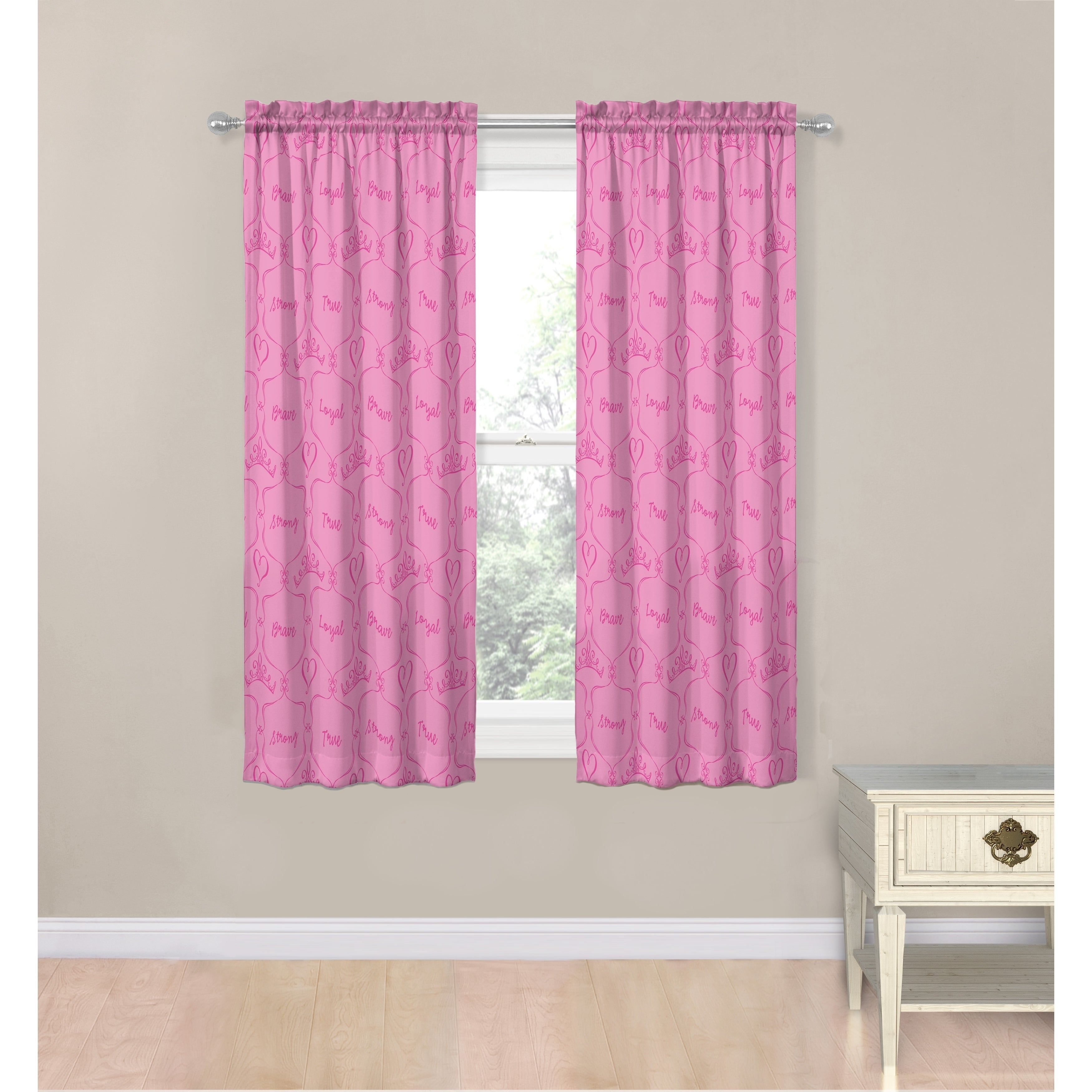 """Disney Princess Friendship Adventures 63"""" Decorative Curtain Set Pertaining To Classic Hotel Quality Water Resistant Fabric Curtains Set With Tiebacks (View 10 of 20)"""