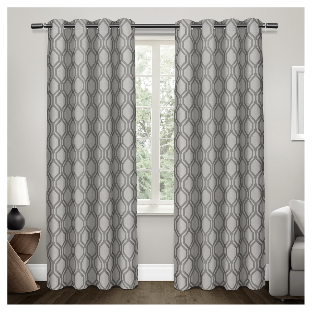 Domino Heavyweight Geometric Jacquard Linen With Woven Throughout Easton Thermal Woven Blackout Grommet Top Curtain Panel Pairs (View 4 of 20)