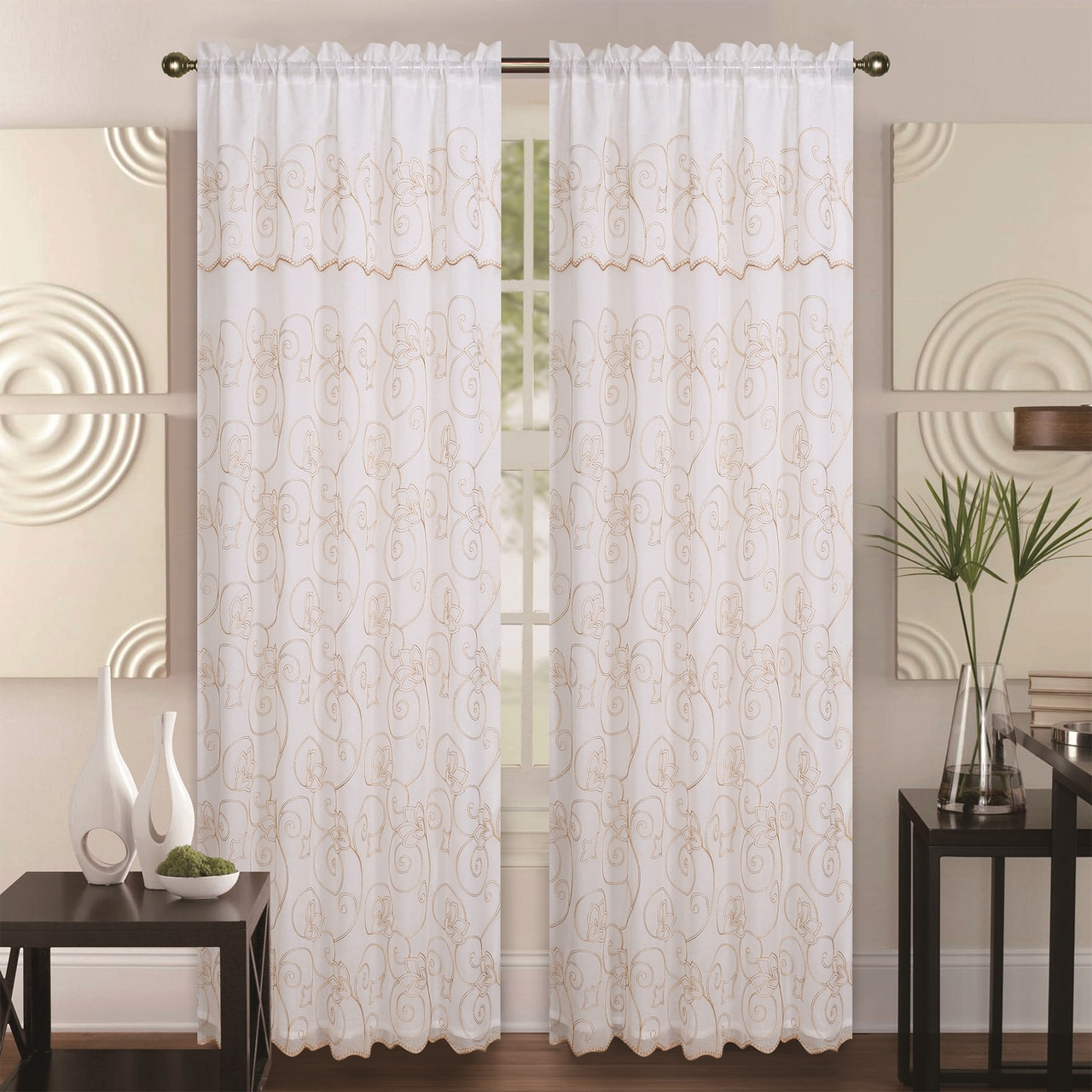 Double Layer Embroidery Floral Sheer Linen Front / Faux Silk Back Rod Pocket Valance Decorative Curtain Panel 55x84 Inch, Selma Single Drape Panel In Ofloral Embroidered Faux Silk Window Curtain Panels (View 4 of 20)