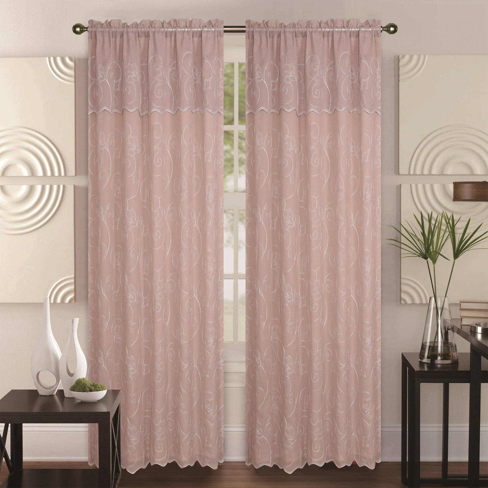 Double Layer Embroidery Floral Sheer Linen Front / Faux Silk In Ofloral Embroidered Faux Silk Window Curtain Panels (View 13 of 20)