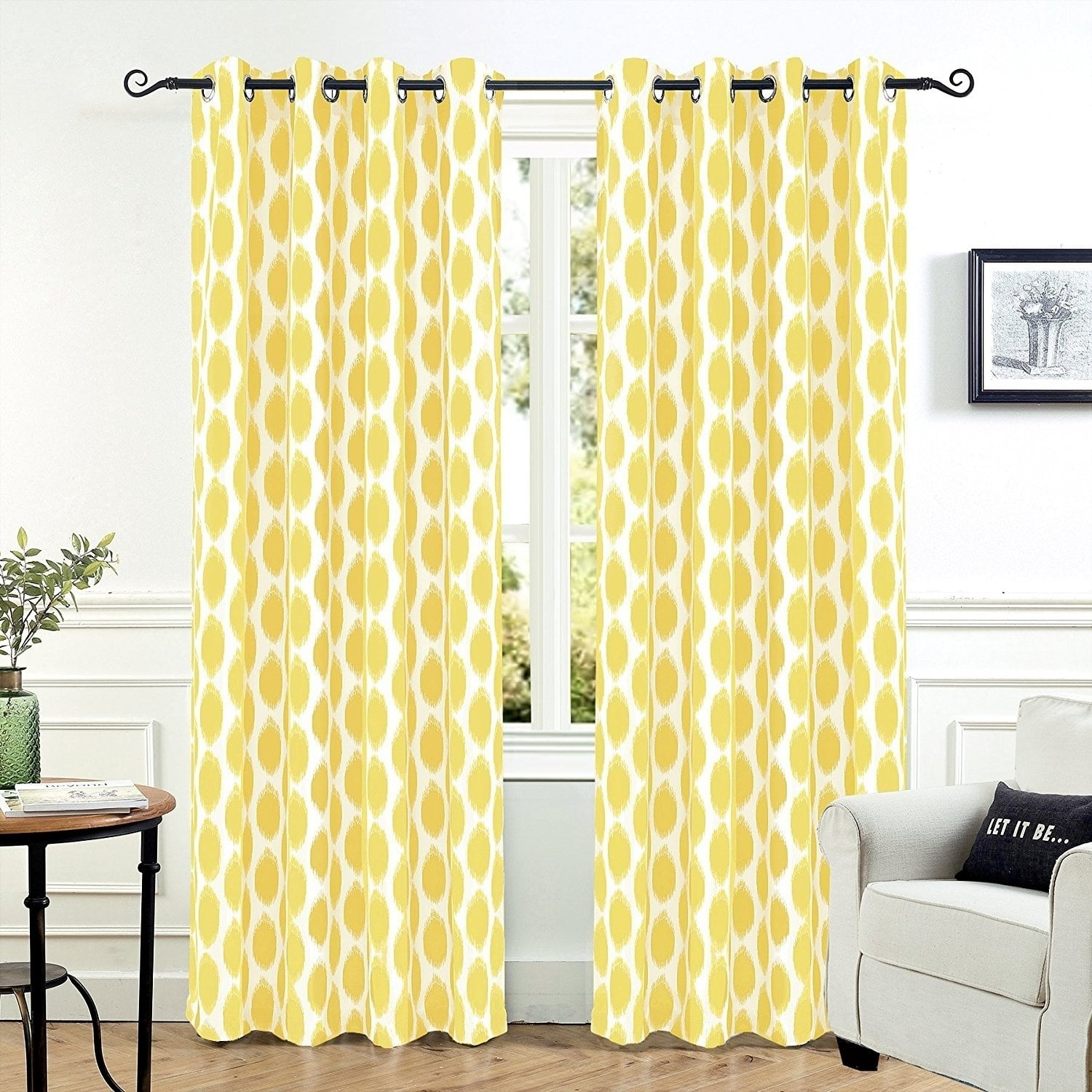Driftaway Allen Ikat Polka Dot Room Darkening Window Curtain Regarding Julia Striped Room Darkening Window Curtain Panel Pairs (View 9 of 20)