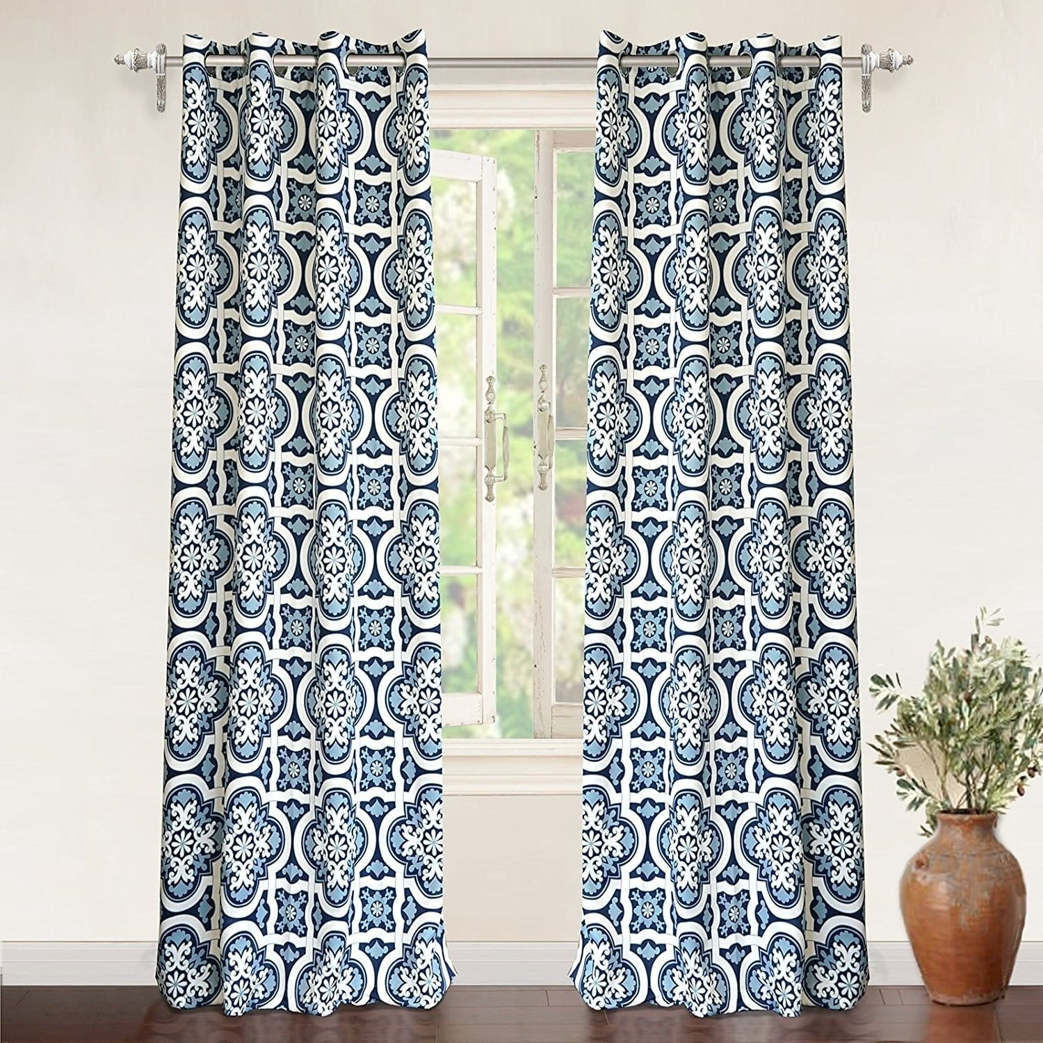 Driftaway Floral Trellis Room Darkening Window Curtain Panel pertaining to Floral Pattern Room Darkening Window Curtain Panel Pairs (Image 5 of 20)