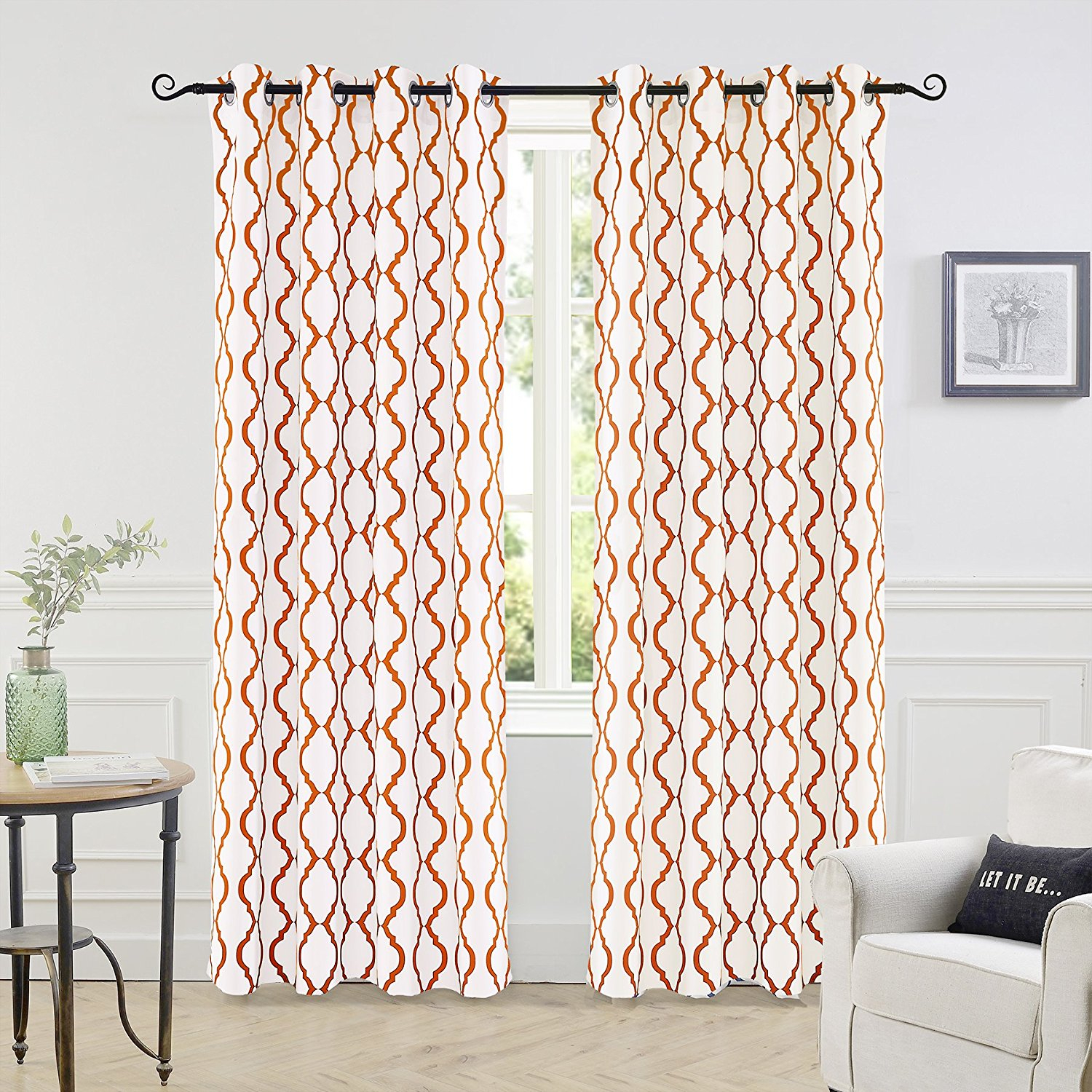 "Driftaway Geovany Room Darkening/thermal Insulated Grommet Window Curtains, Moroccan Geometric Pattern, 2 Of 52""x84"", Sienna Within Edward Moroccan Pattern Room Darkening Curtain Panel Pairs (View 16 of 20)"