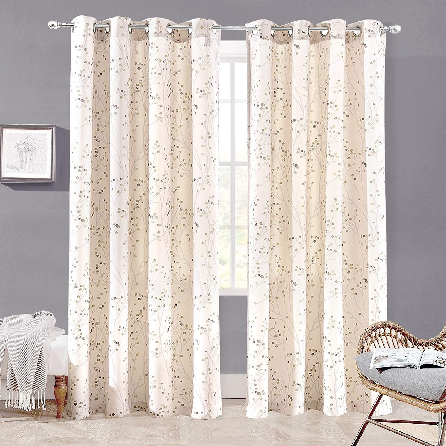 "Driftaway Harper Ink Floral Pattern Room Darkening Window Curtain Panel  Pair - 50""widthx84""length with Floral Pattern Room Darkening Window Curtain Panel Pairs (Image 6 of 20)"