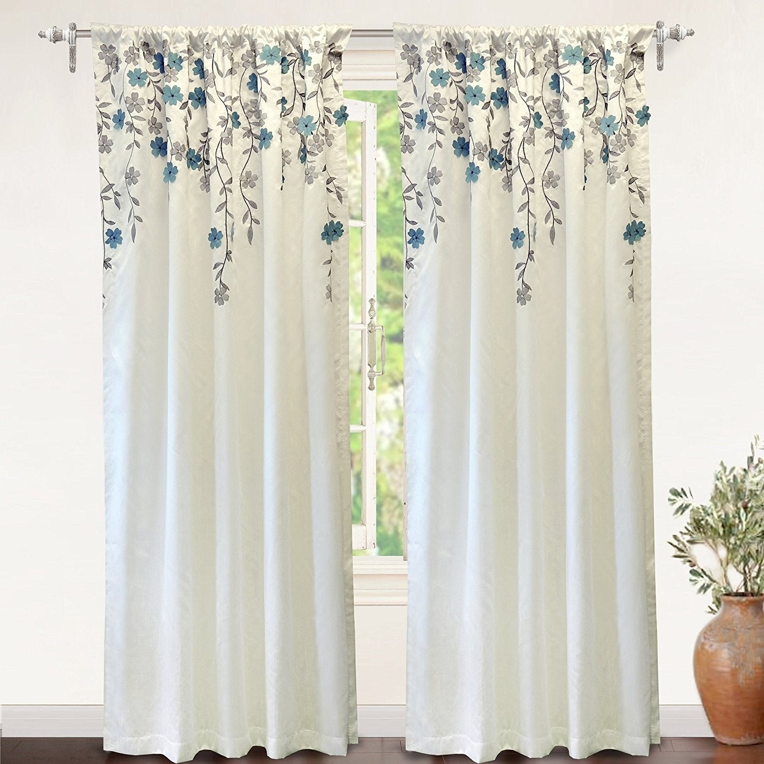 Driftaway Isabella Faux Silk Lined Thermal Embroidered Crafted Flower Window Curtain Panel Regarding Ofloral Embroidered Faux Silk Window Curtain Panels (View 2 of 20)