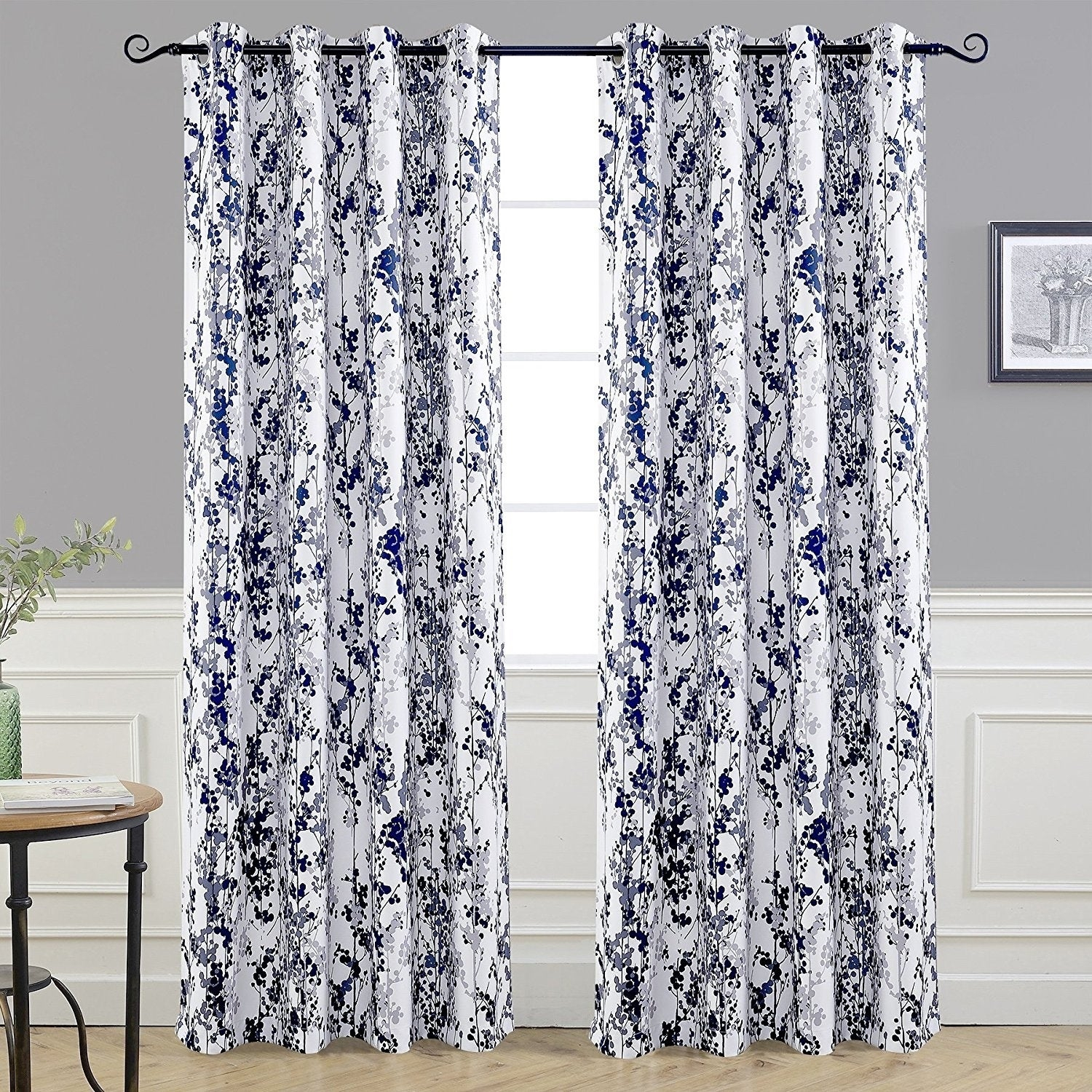 Driftaway Leah Floral Blossom Ink Painting Room Darkening Grommet Window  Curtain Panel Pair throughout Floral Pattern Room Darkening Window Curtain Panel Pairs (Image 7 of 20)