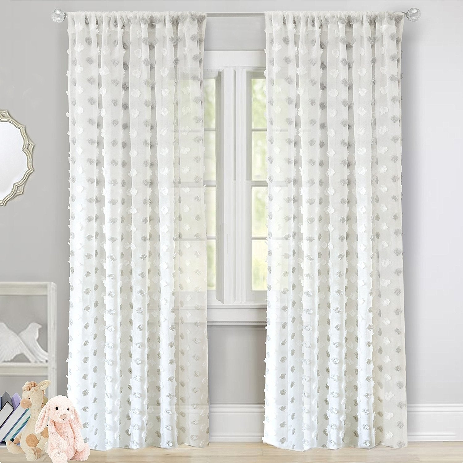 Driftaway Olivia White Voile Chiffon Sheer Window Curtain Panel Pair Within Kida Embroidered Sheer Curtain Panels (View 15 of 20)