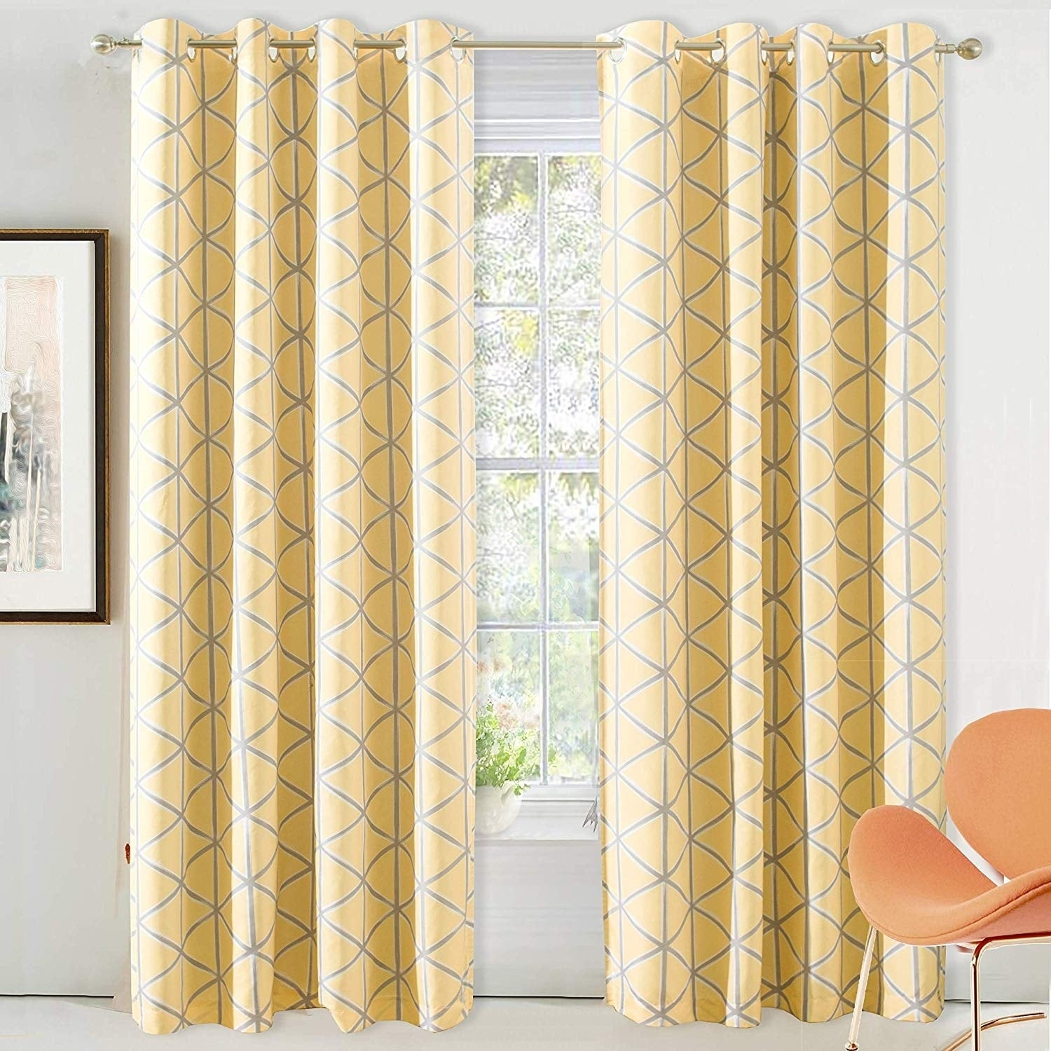 Driftaway Raymond Geometric Pattern Lined Blackout Window Curtain Panel Pair Regarding Gracewood Hollow Tucakovic Energy Efficient Fabric Blackout Curtains (View 15 of 20)