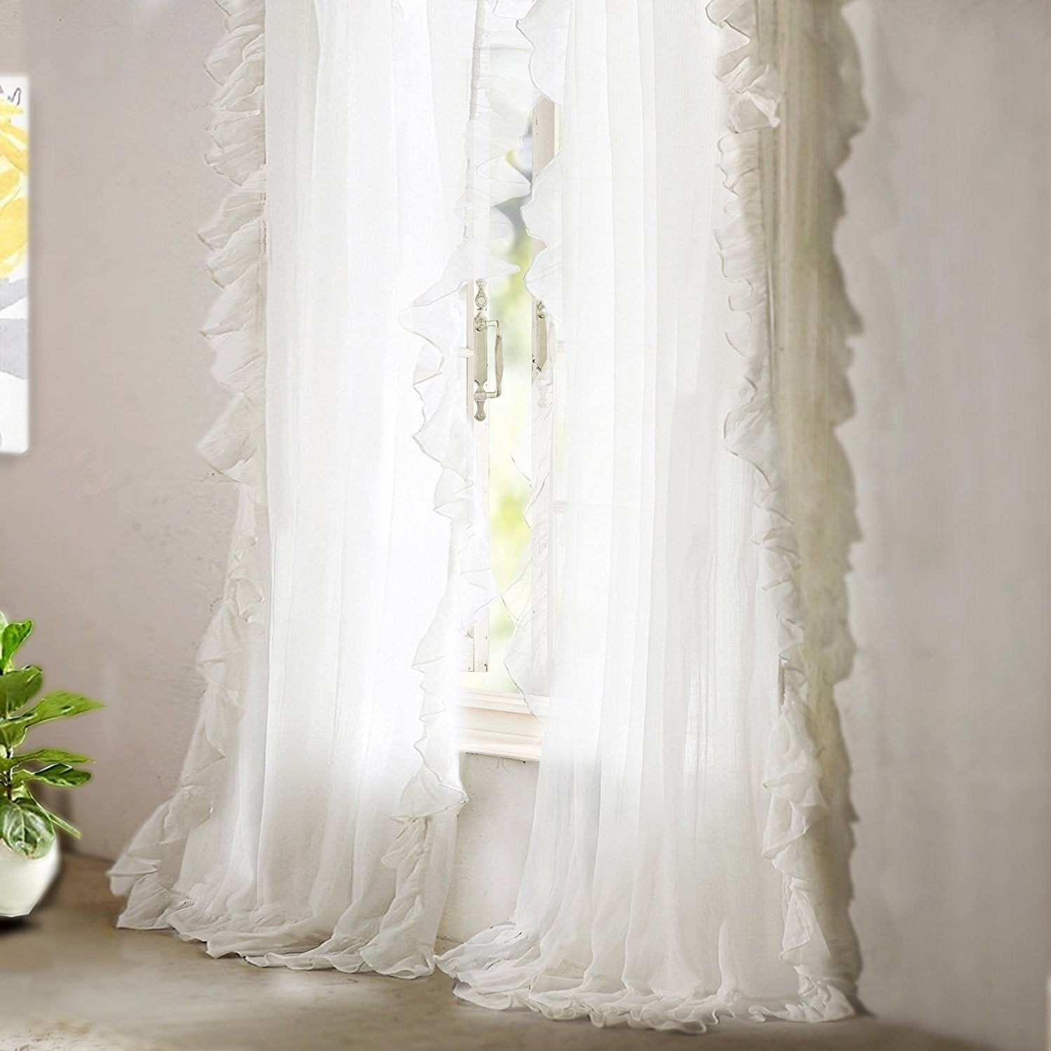 Driftaway Sophie Sheer Voile Ruffle Edge Window Curtain Panel Pair Intended For Sheer Voile Ruffled Tier Window Curtain Panels (View 11 of 20)