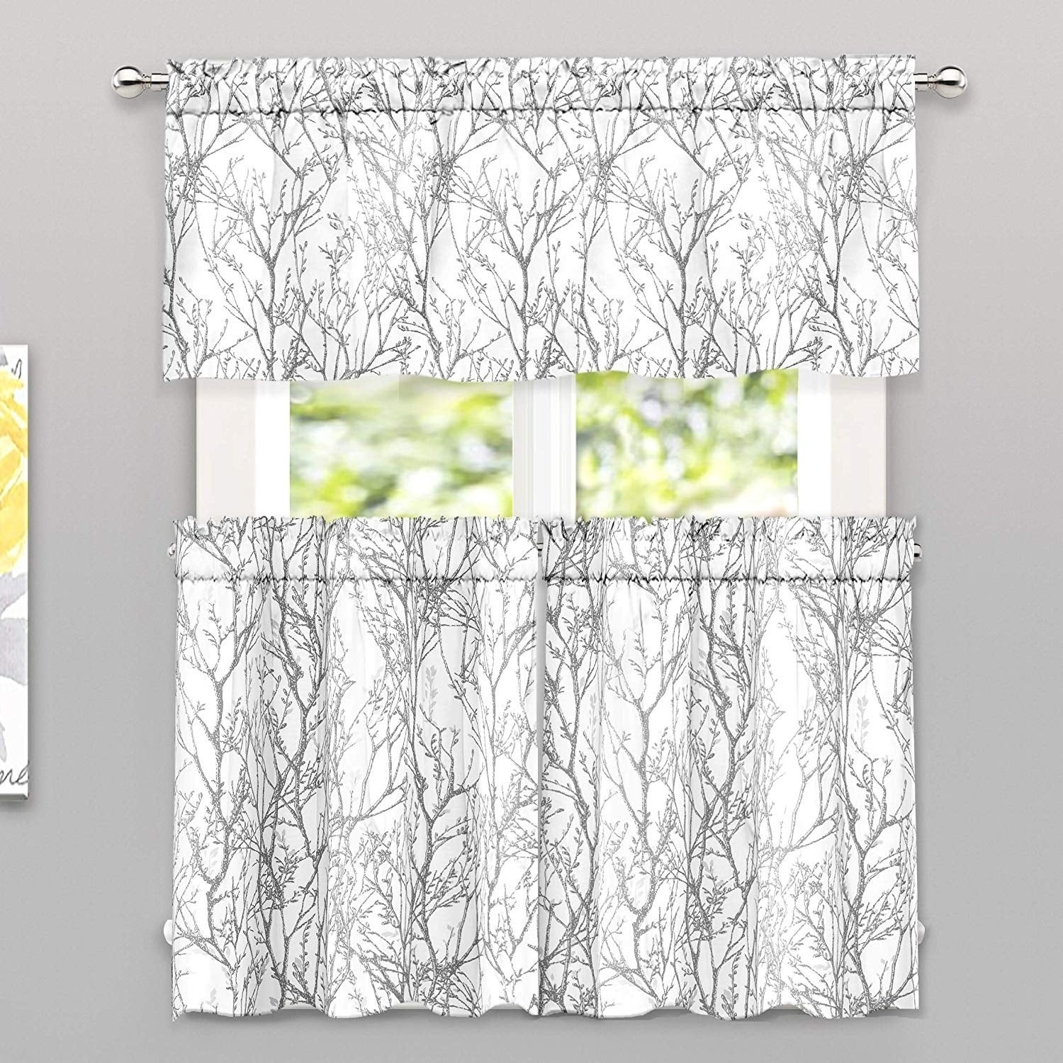 """Driftaway Tree Branch Botanic Pattern 3 Piece Valance And Tiers Set – 2 Tier Each 26""""x36"""" + 1 Valance 52""""x18"""" For Classic Hotel Quality Water Resistant Fabric Curtains Set With Tiebacks (View 11 of 20)"""