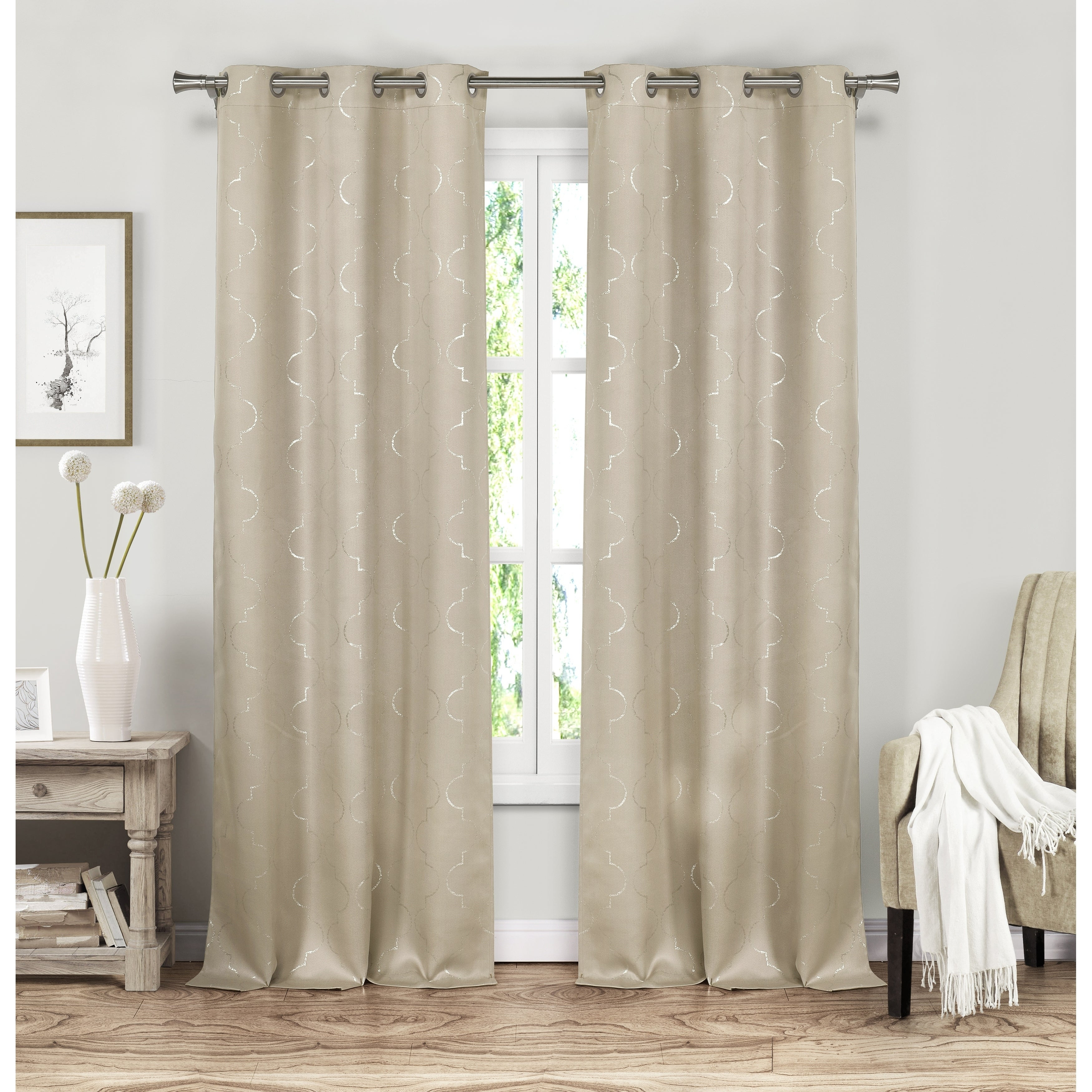 Duck River Stephanie Metallic Blackout Curtain Panel Pair – 37X84 Pertaining To Sateen Twill Weave Insulated Blackout Window Curtain Panel Pairs (View 6 of 20)