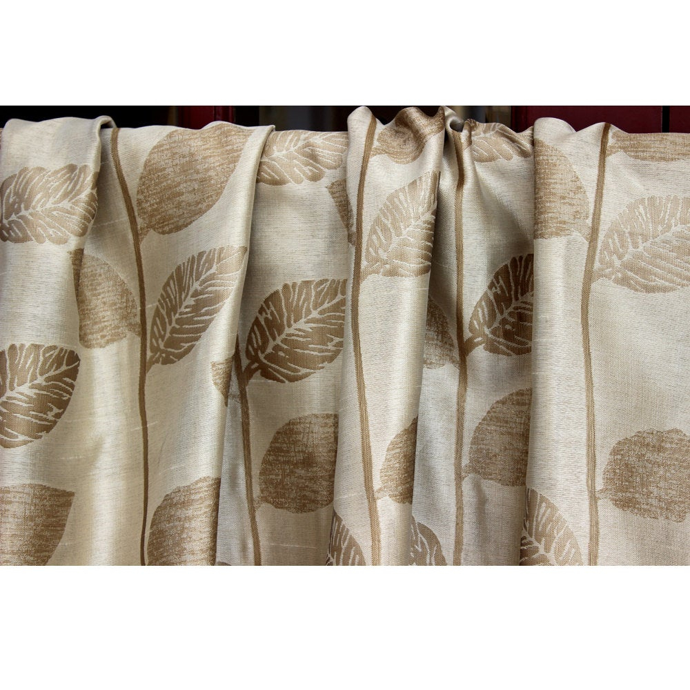 Dull Gold N Beige Leaf Adore Grommet Blackout Lined Curtain In Jacquard Weave Fabric Decor And Housewares Window Treatment Drapes Panels Throughout Lined Grommet Curtain Panels (View 20 of 20)