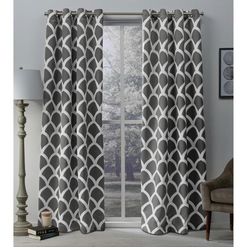 Durango Black Pearl Geometric Printed Woven Sateen Grommet Top Window Curtain Intended For Geometric Print Textured Thermal Insulated Grommet Curtain Panels (View 7 of 20)