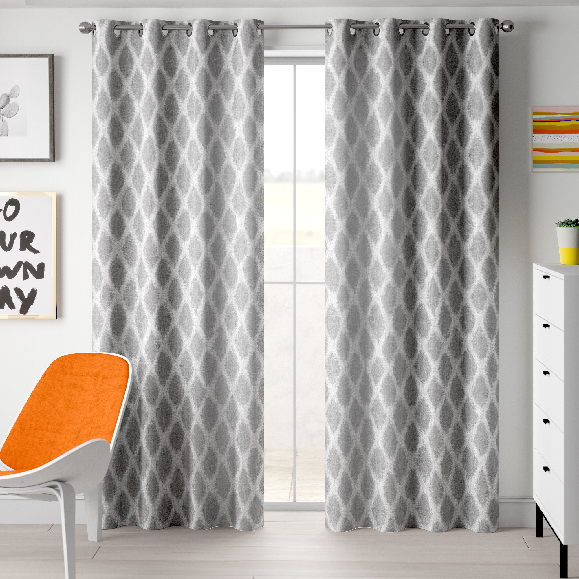 Ebern Designs Hutton Printed Ikat Blackout Single Curtain For Ikat Blue Printed Cotton Curtain Panels (View 5 of 20)
