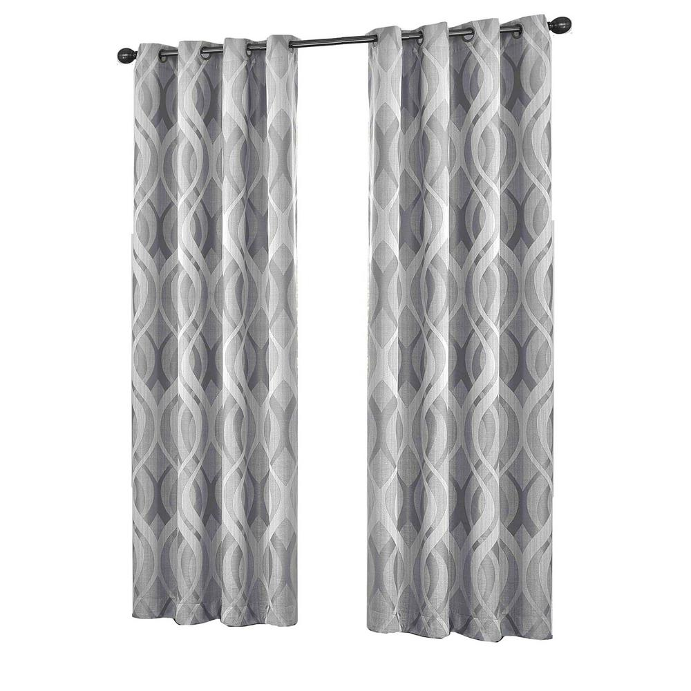 Eclipse Caprese Blackout Window Curtain Panel In Silver – 52 In. W X 108 In (View 6 of 20)