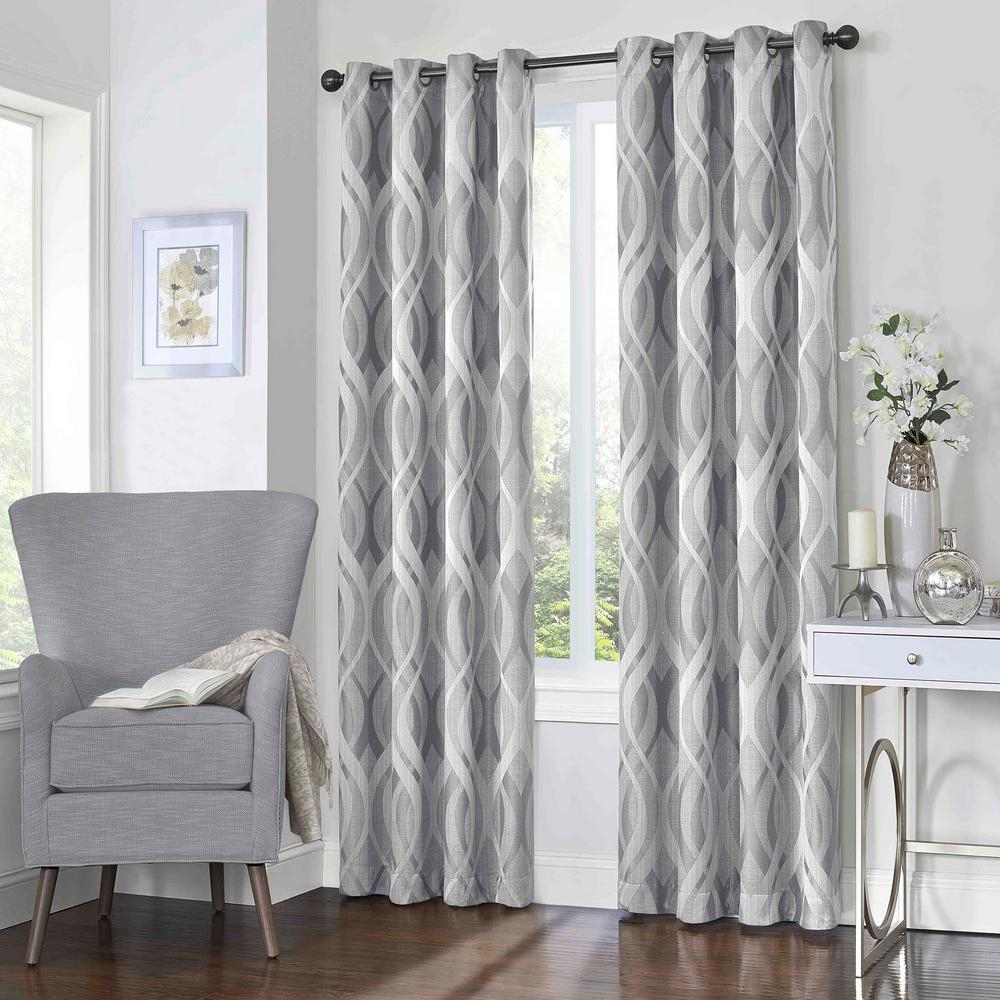 Eclipse Caprese Blackout Window Curtain Panel In Silver – 52 In. W X 108 In (View 3 of 20)